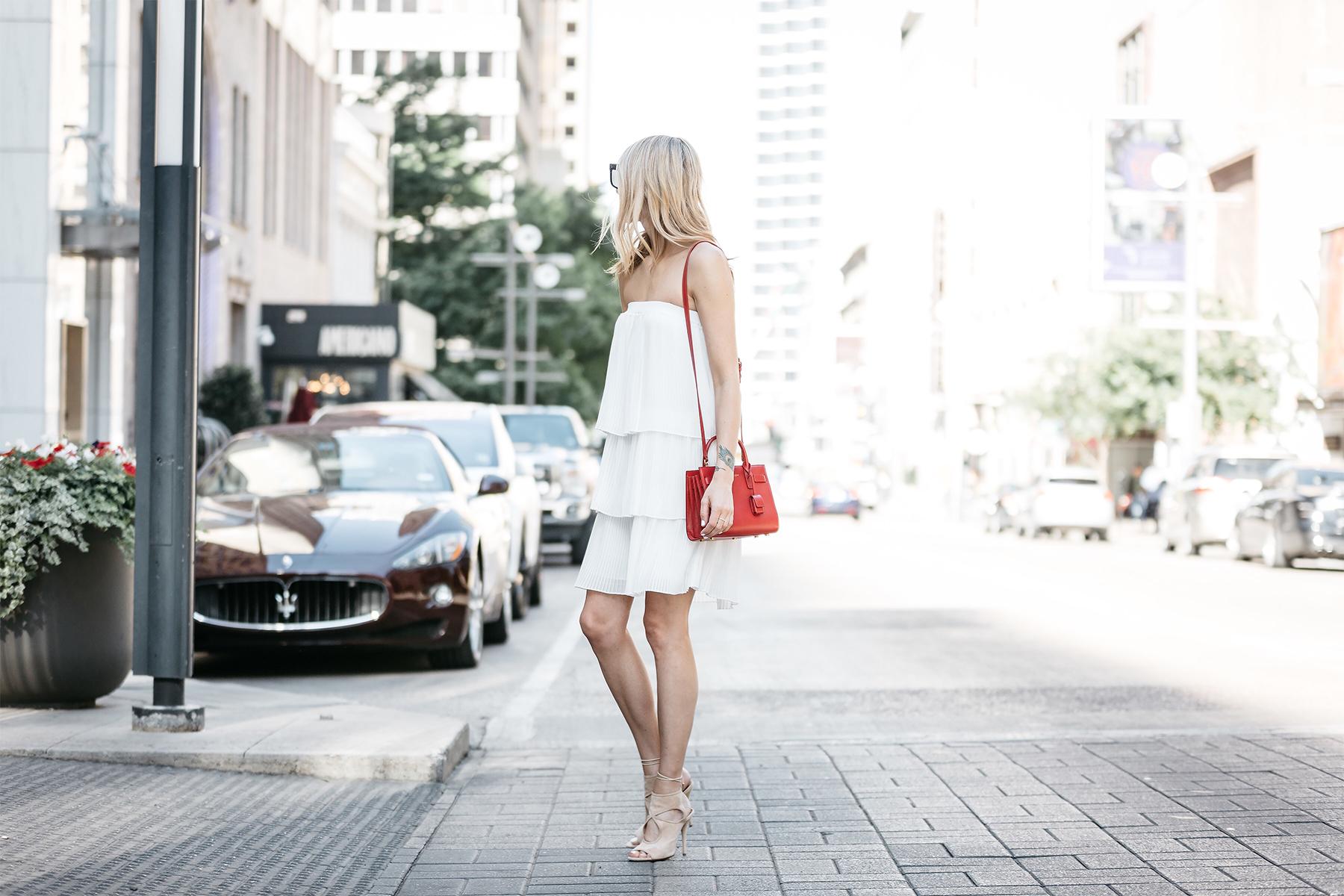 Fashion Jackson, Dallas Blogger, Fashion Blogger, Street Style, Little White Dress, Nordstrom White Pleated Strapless Dress, YSL Nano Sac De Jour Red Handbag, Aquazzura Nude Sexy Thang Heels, Black Celine Sunglasses
