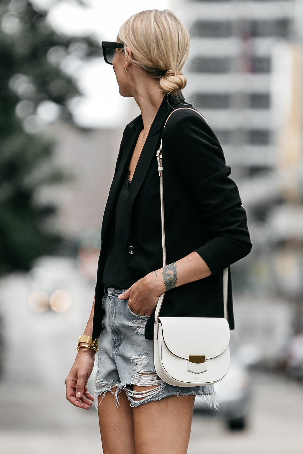 Blonde Woman Wearing Nordstrom Black Blazer Anine Bing Black Lace Cami Topshop Denim Cutoff Shorts Outfit Celine White Trotteur Street Style Dallas Blogger Fashion Blogger