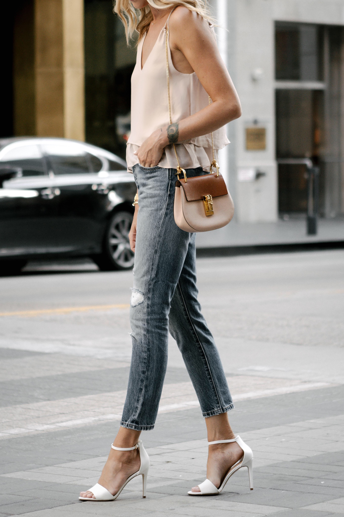 Mango Blush Pink Camisole Levis Distressed Jeans Aldo White Heeled Sandals Chloe Drew Handbag