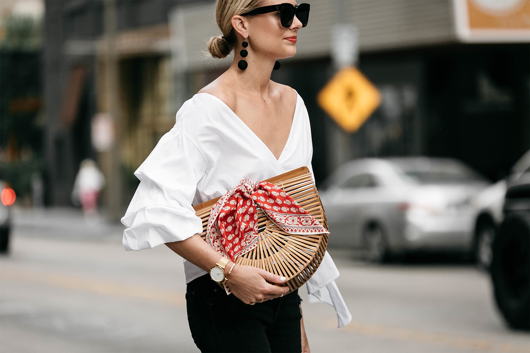 Woman Wearing Club Monaco Ruffle Sleeve Wrap Top Cult Gaia Ark Bag Red Bandana Street Style Outfit