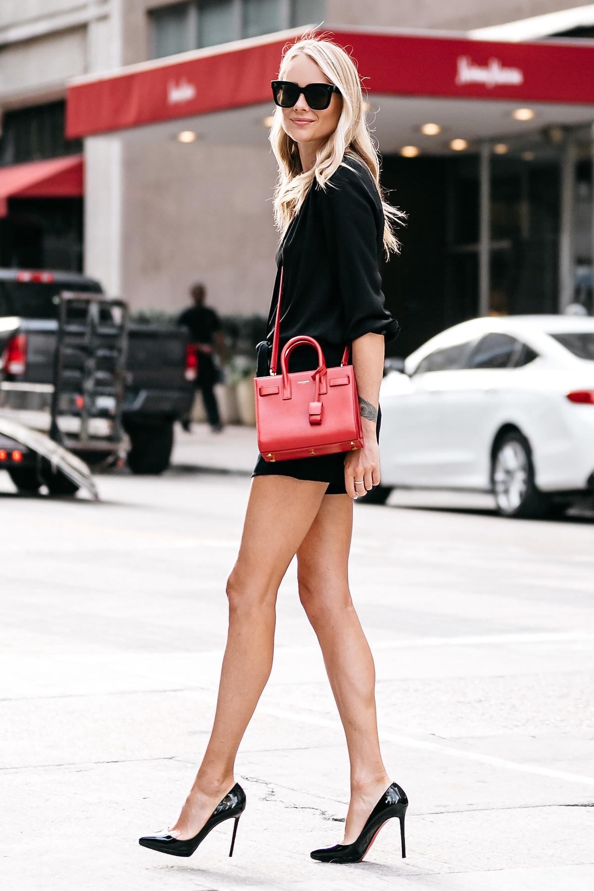 Blonde Woman Wearing Nordstrom Black Blouse Nordstrom Black Tie Front Shorts YSL Sac De Jour Nano Red Christian Louboutin Black Pumps Street Style Outfit Dallas Blogger Fashion Blogger