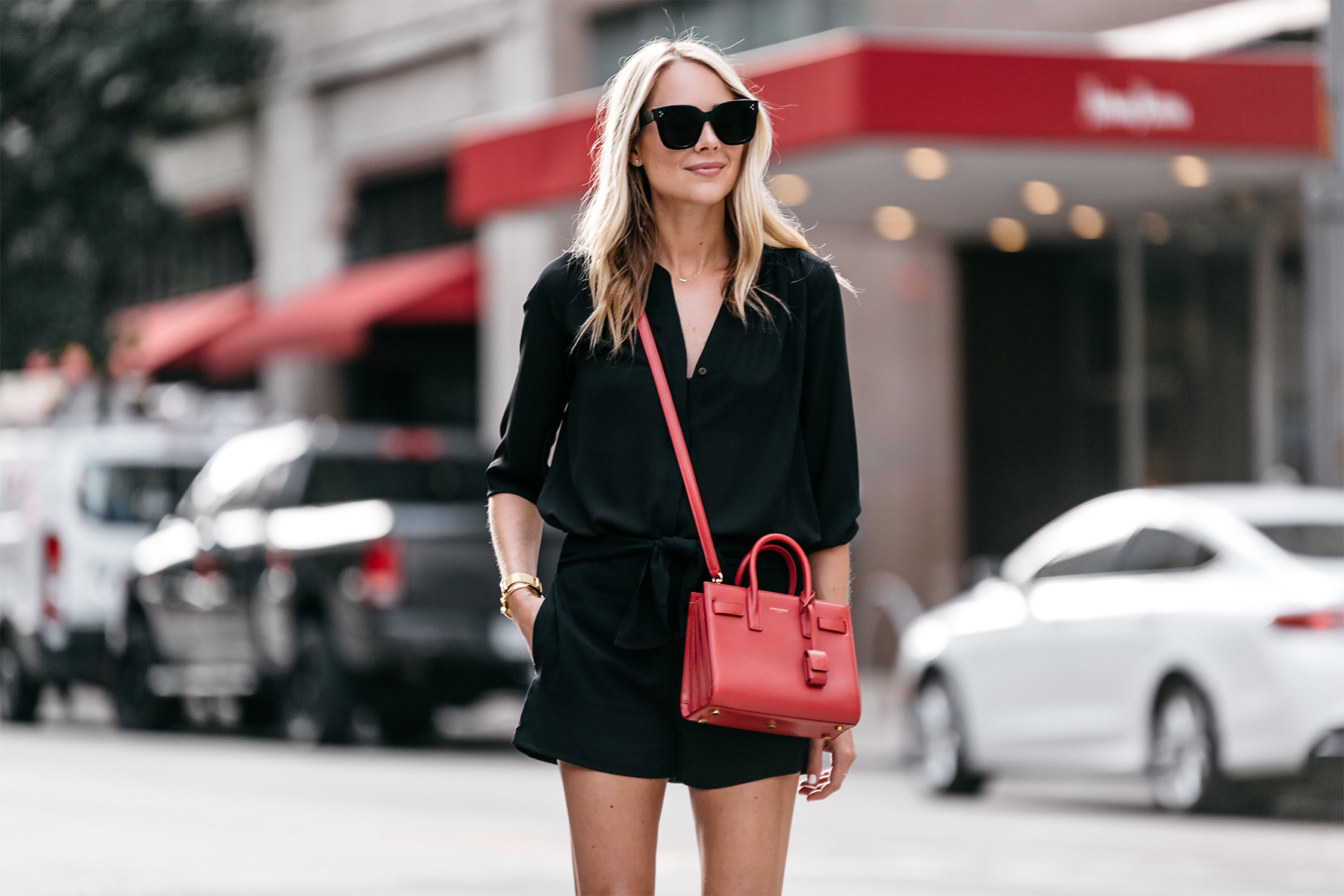 Blonde Woman Wearing Nordstrom Black Blouse Nordstrom Black Tie Front Shorts YSL Sac De Jour Nano Red Street Style Outfit Dallas Blogger Fashion Blogger