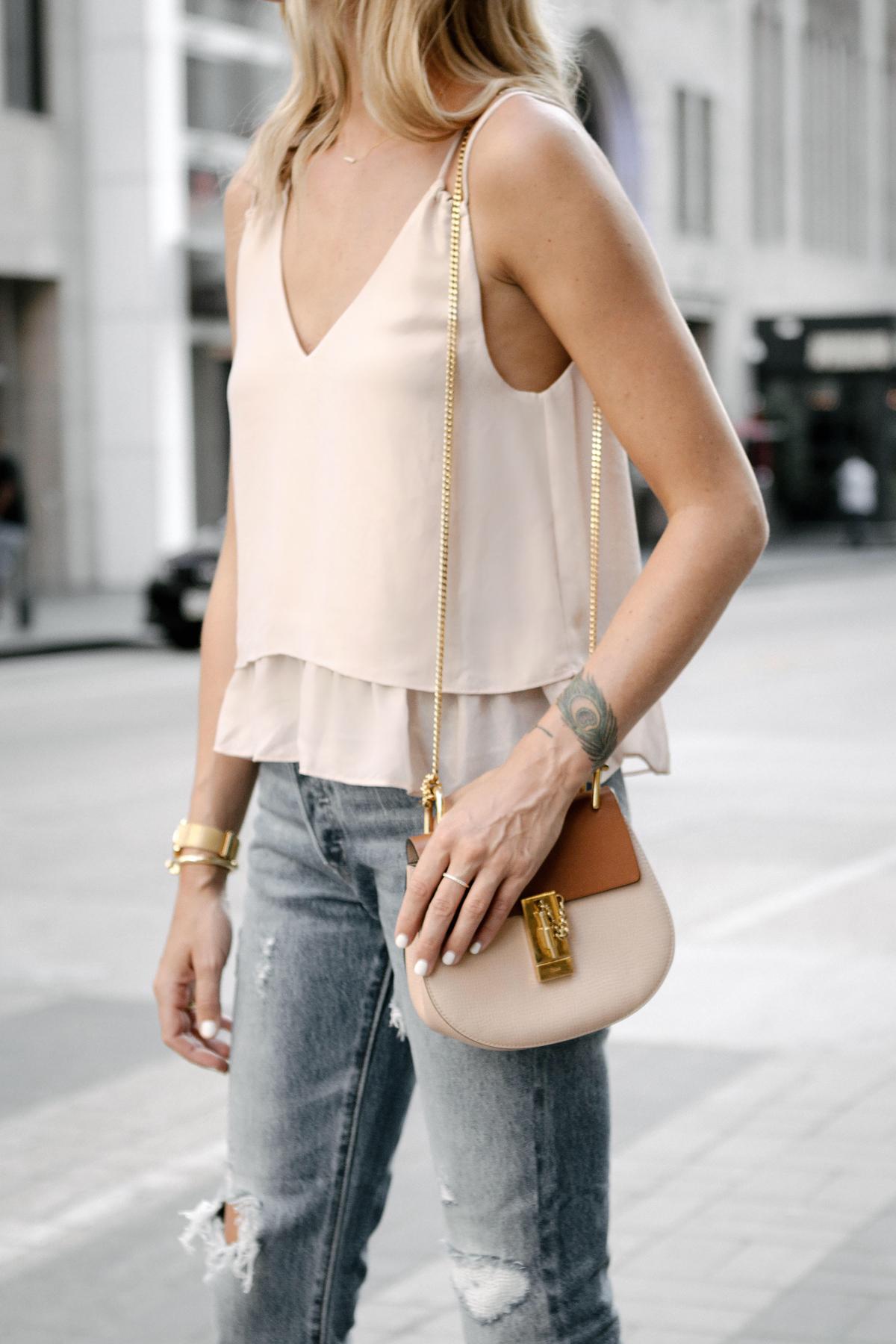 Mango Blush Pink Camisole Tank Top Chloe Drew Handbag