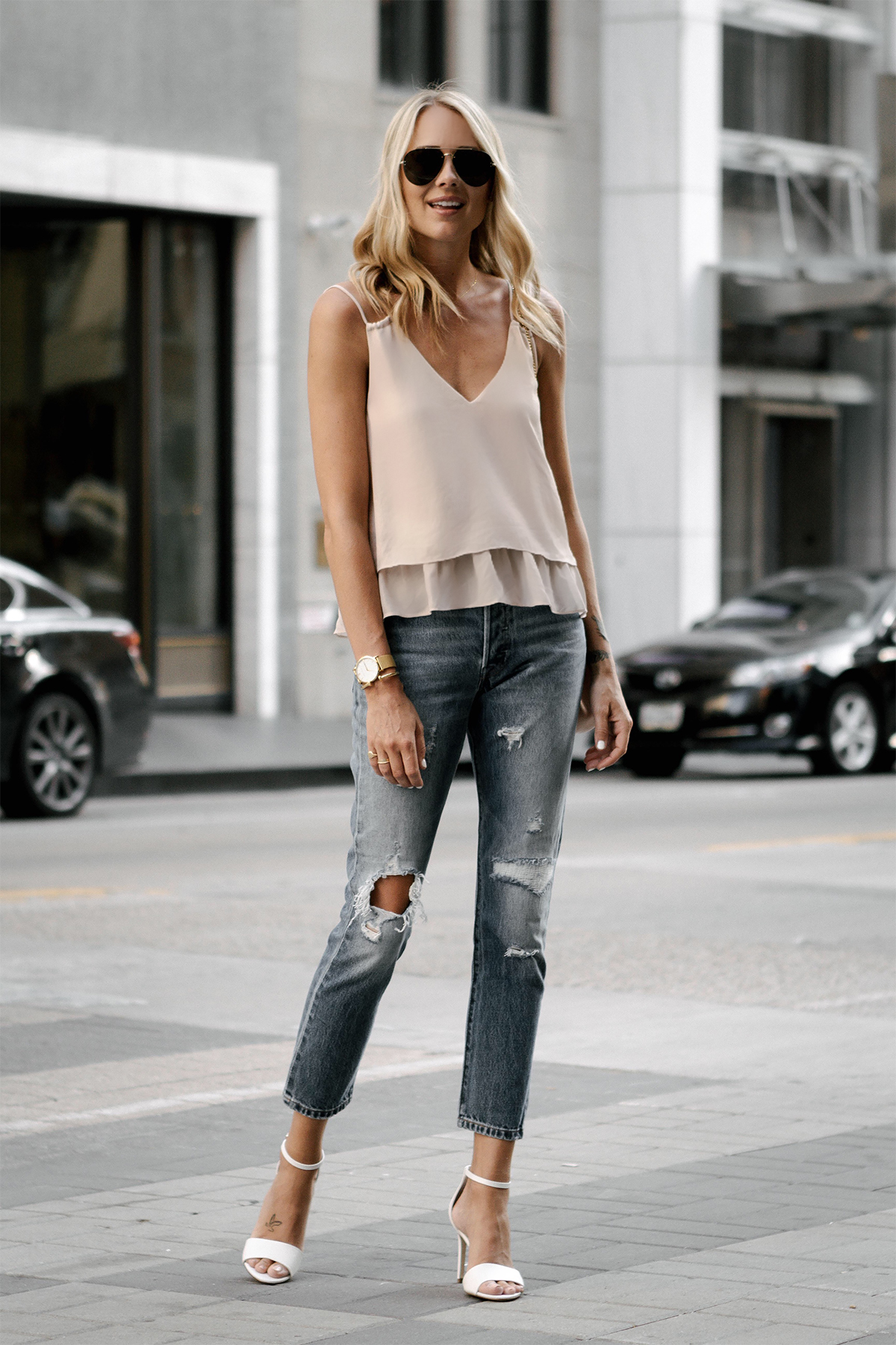 Blonde Woman Wearing Mango Blush Pink Camisole Levis Distressed Jeans