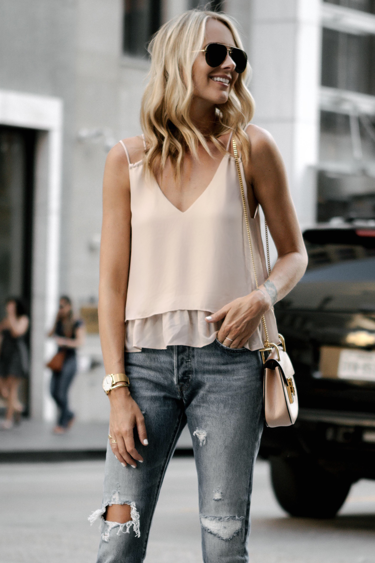 Blonde Woman Wearing Mango Blush Pink Camisole