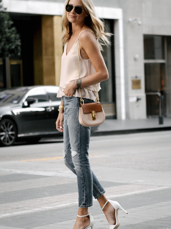 Blonde Woman Wearing Mango Blush Pink Camisole Levis Distressed Jeans Aldo White Heeled Sandals Chloe Drew Handbag