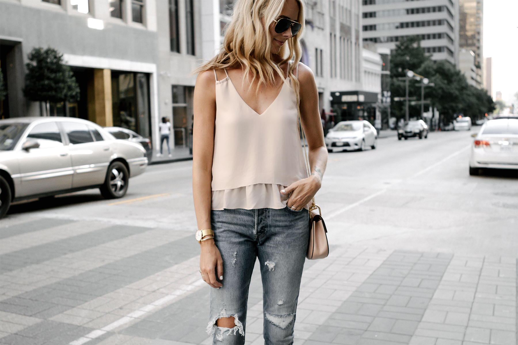 Blonde Woman Wearing Mango Blush Pink Camisole Tank Top