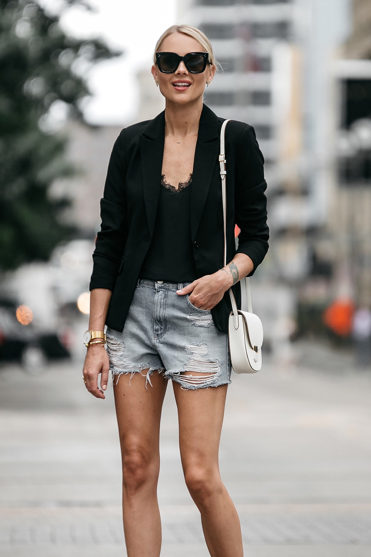 Blonde Woman Wearing Nordstrom Black Blazer Anine Bing Black Lace Cami Topshop Denim Cutoff Shorts Outfit Celine White Trotteur Handbag Street Style Dallas Blogger Fashion Blogger