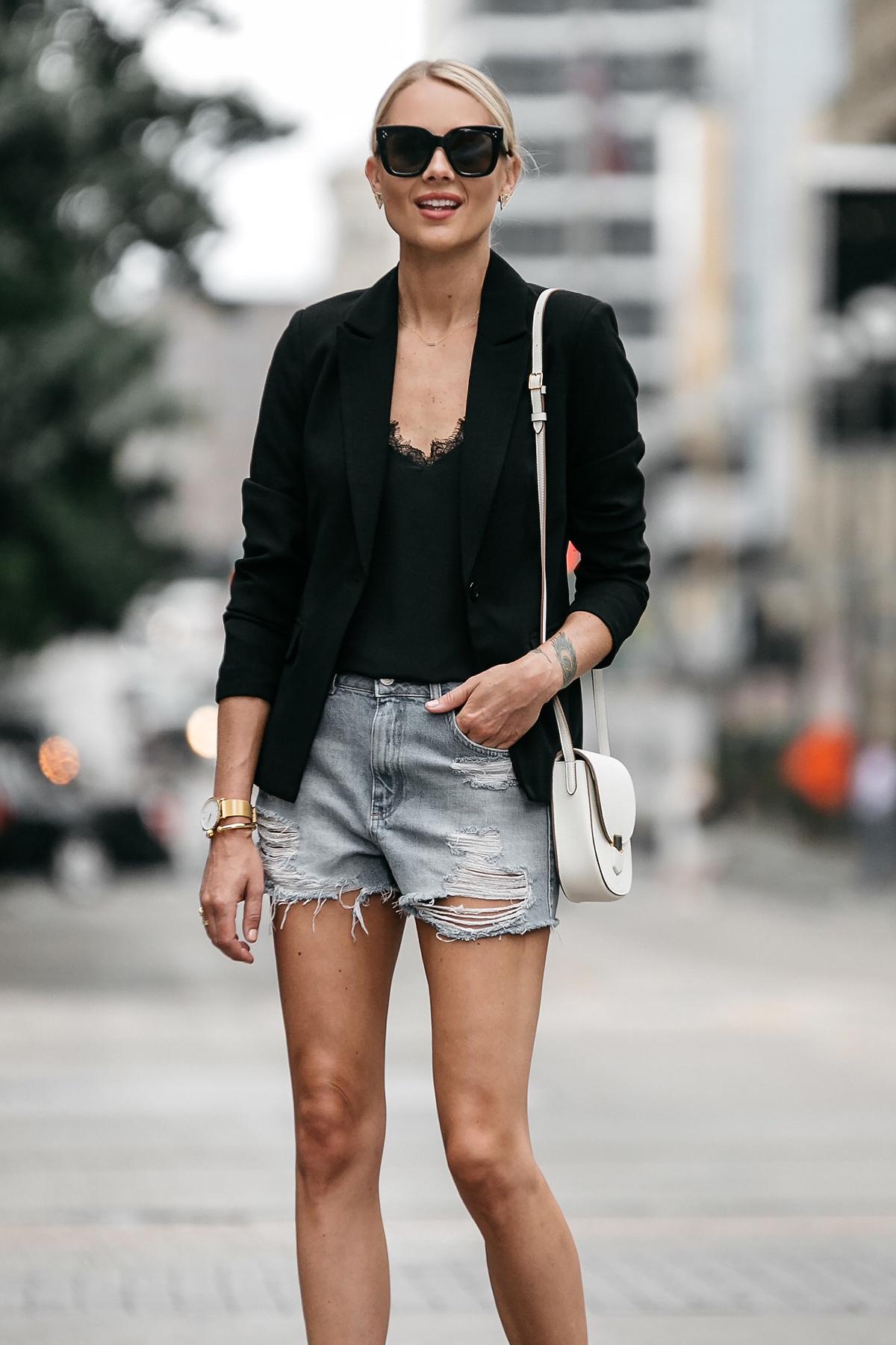 Blonde Woman Wearing Nordstrom Black Blazer Anine Bing Black Lace Cami Topshop Denim Cutoff Shorts Outfit Celine White Trotteur Handbag Street Style Dallas Blogger Fashion Blogger