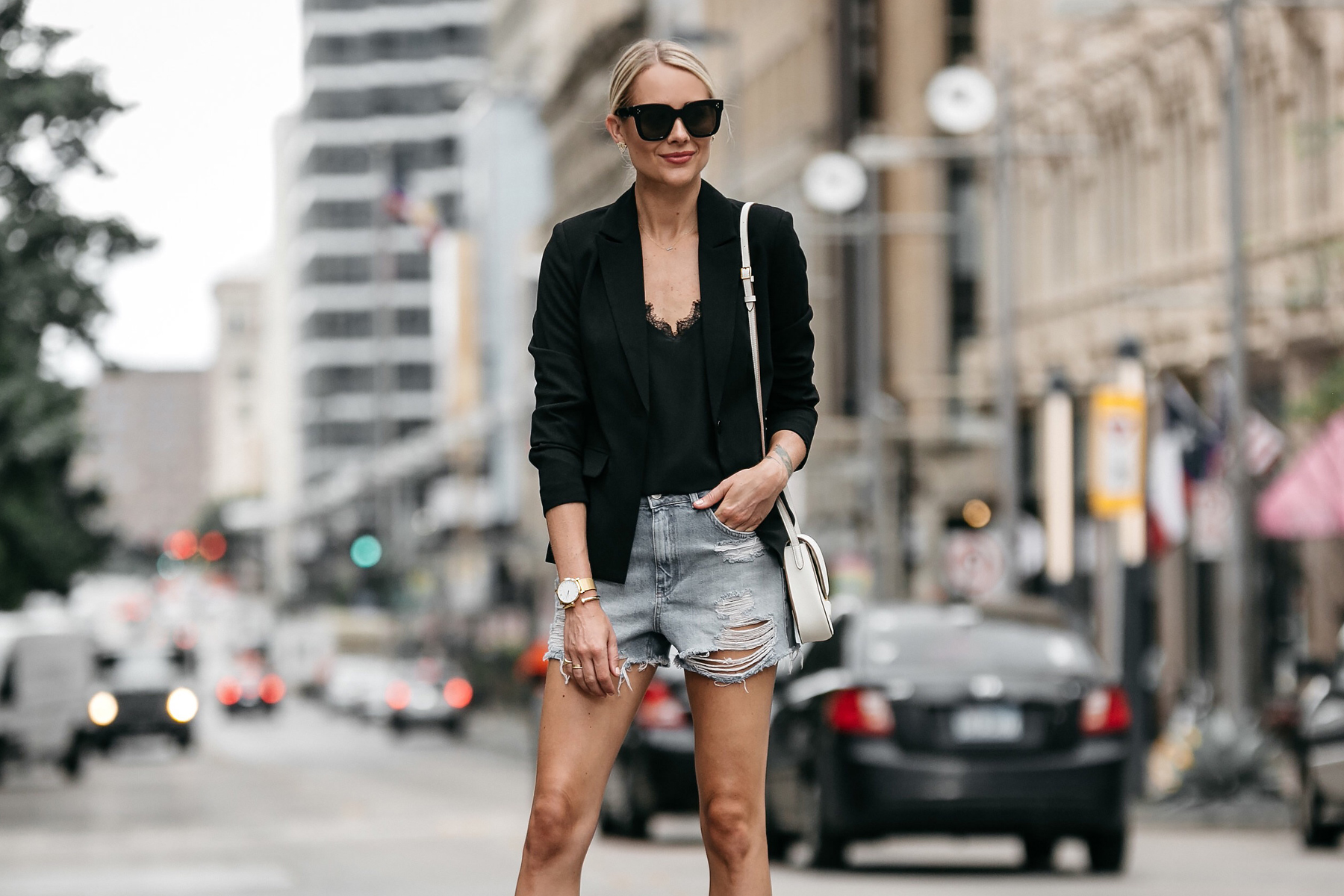Blonde Woman Wearing Nordstrom Black Blazer Anine Bing Black Lace Cami Topshop Denim Cutoff Shorts Outfit Street Style Dallas Blogger Fashion Blogger