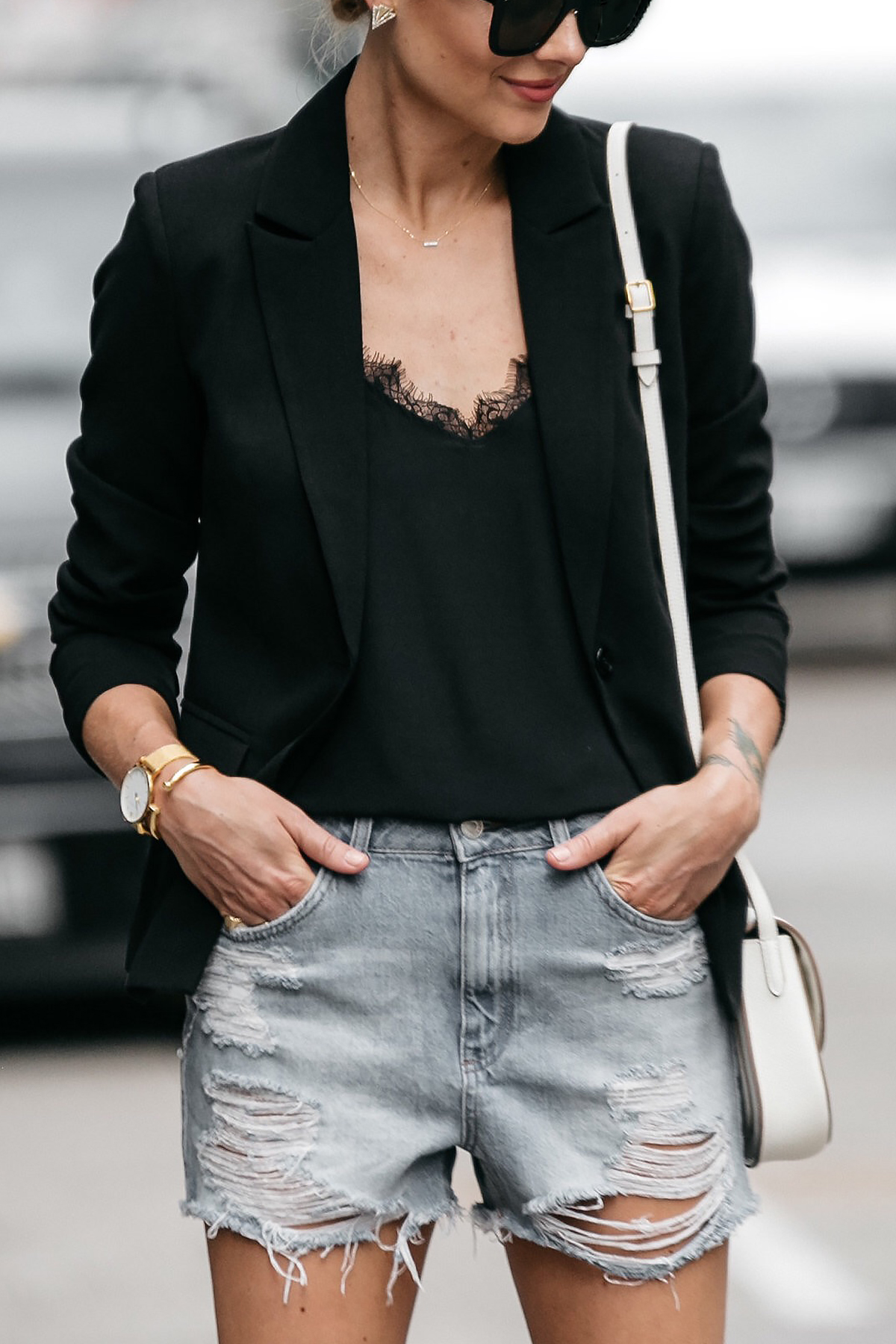 Nordstrom Black Blazer Anine Bing Black Lace Cami Topshop Denim Cutoff Shorts Outfit Street Style Dallas Blogger Fashion Blogger
