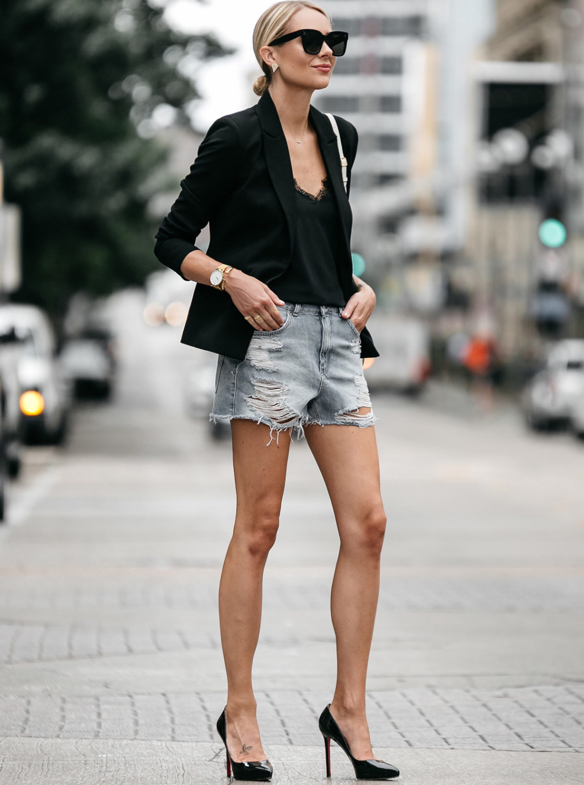 Blonde Woman Wearing Nordstrom Black Blazer Topshop Denim Cutoff Shorts Outfit Christian Louboutin Black Pumps Street Style Dallas Blogger Fashion Blogger