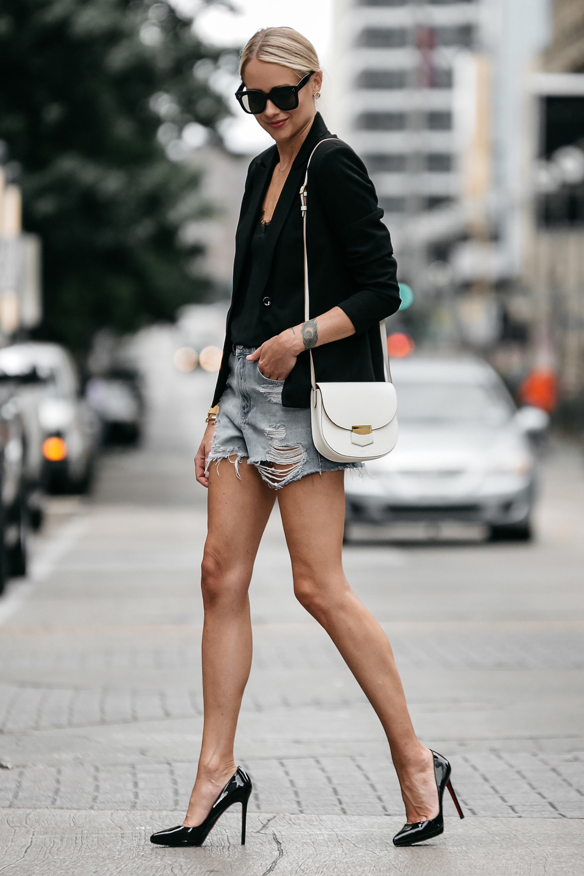 Blonde Woman Wearing Nordstrom Black Blazer Topshop Denim Cutoff Shorts Outfit Christian Louboutin Black Pumps Celine White Trotteur Handbag Street Style Dallas Blogger Fashion Blogger