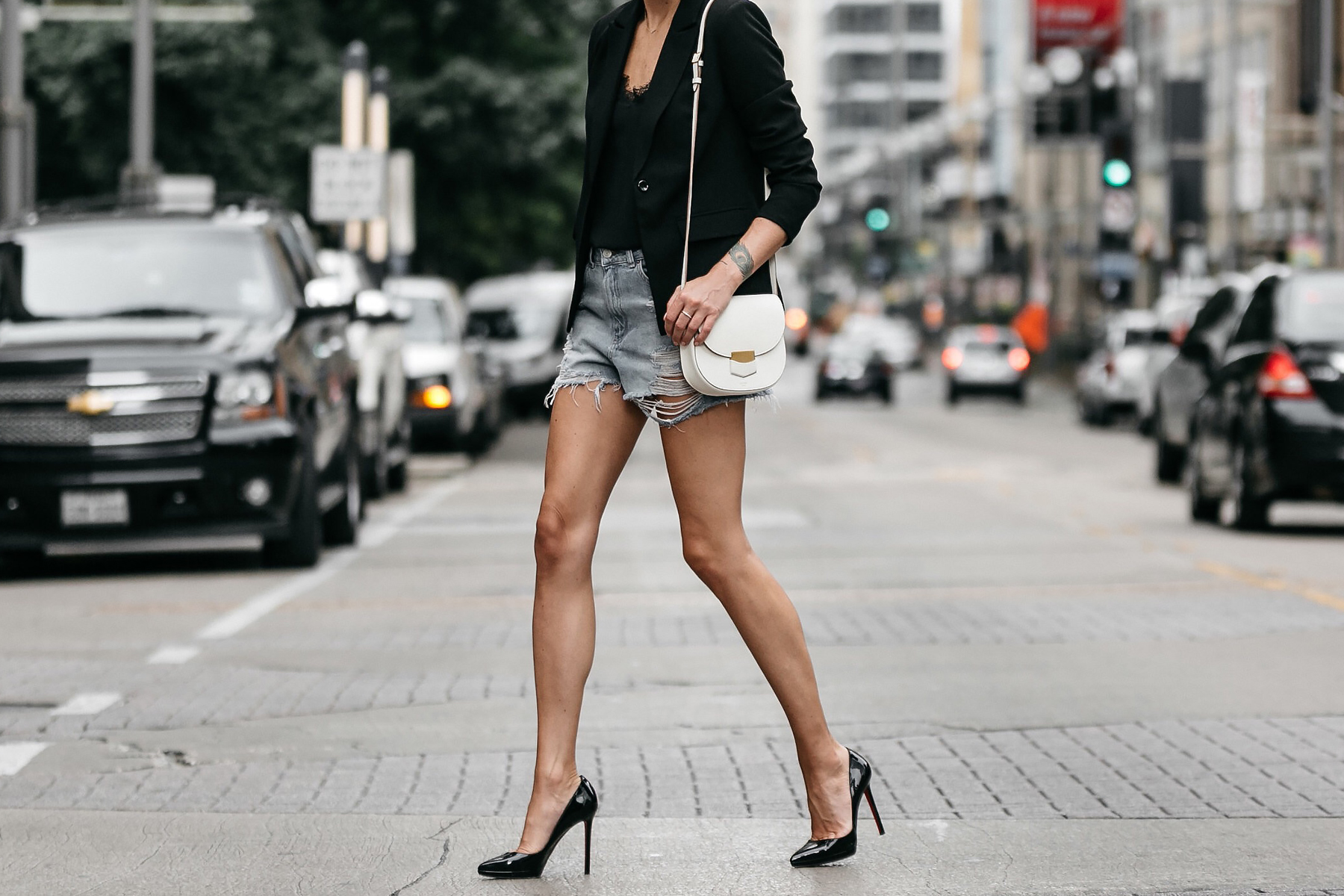 Nordstrom Black Blazer Topshop Denim Cutoff Shorts Outfit Christian Louboutin Black Pumps Celine White Trotteur Handbag Street Style Dallas Blogger Fashion Blogger