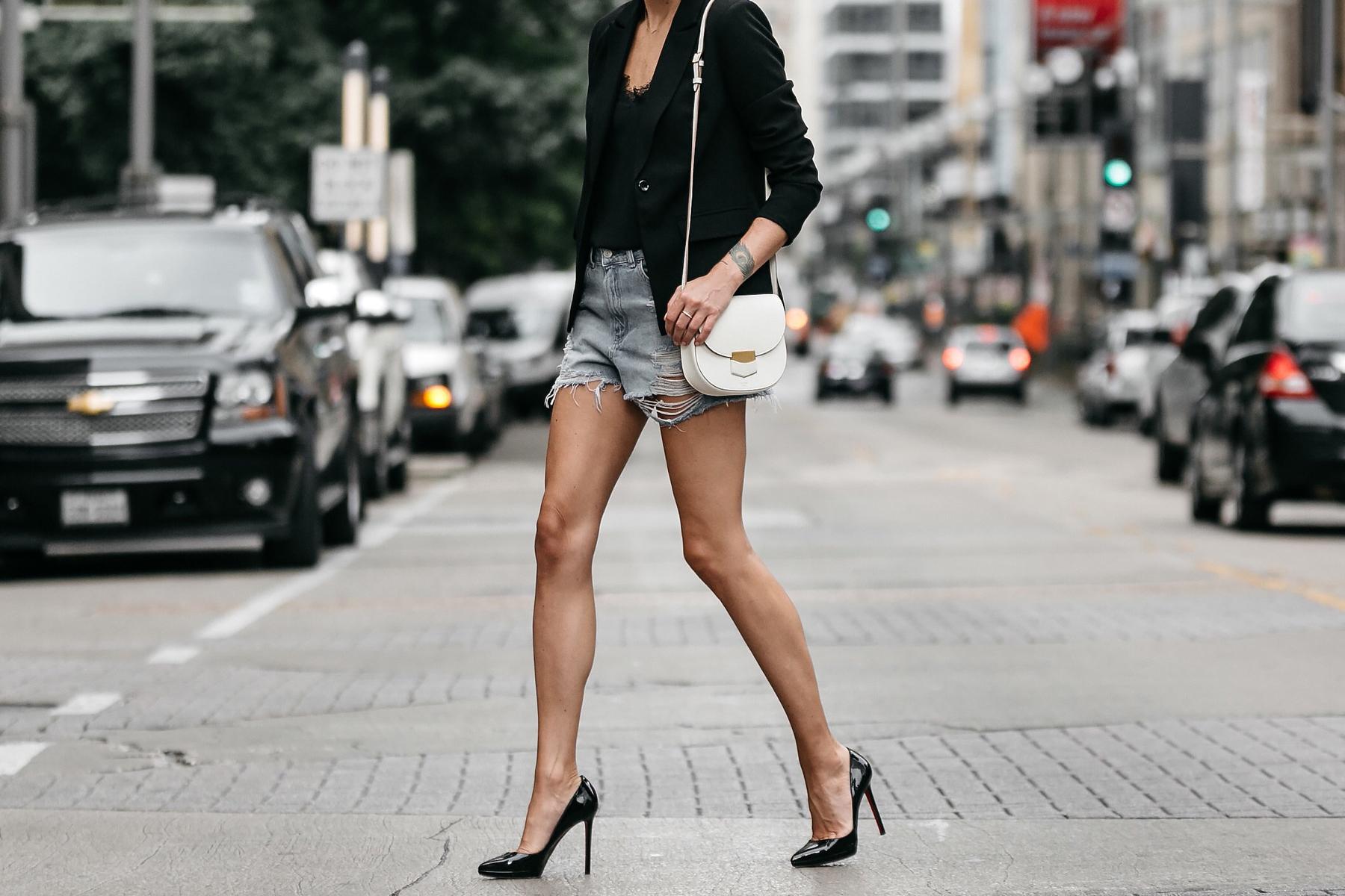 Nordstrom Black Blazer Topshop Denim Cutoff Shorts Outfit Christian Louboutin Black Pumps Celine White Trotteur Handbag Street Style Dallas Blogger Fashion Blogger