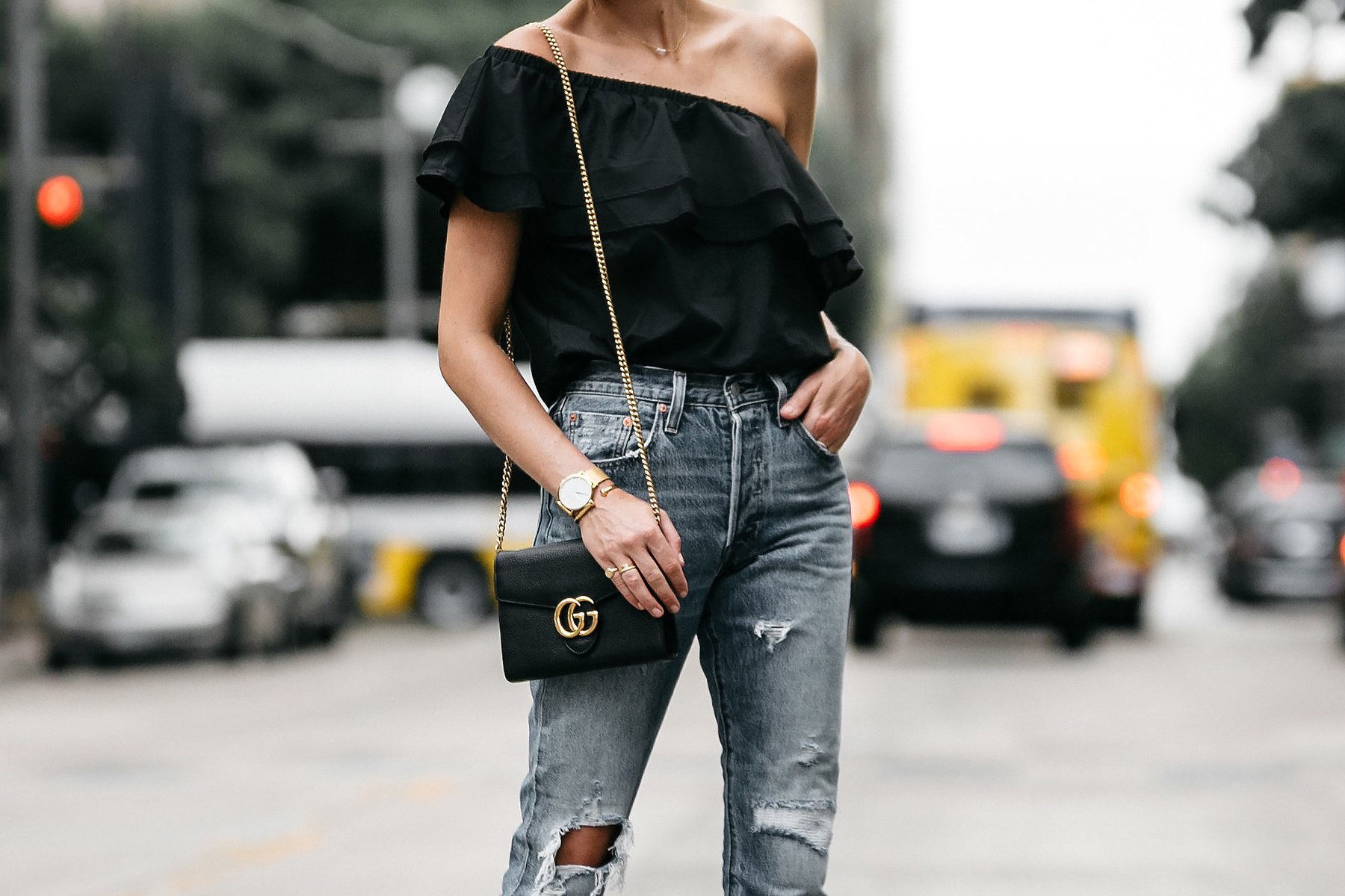 Blonde woman wearing nordstrom black one shoulder ruffle top gucci marmont handbag street style dallas blogger fashion blogger