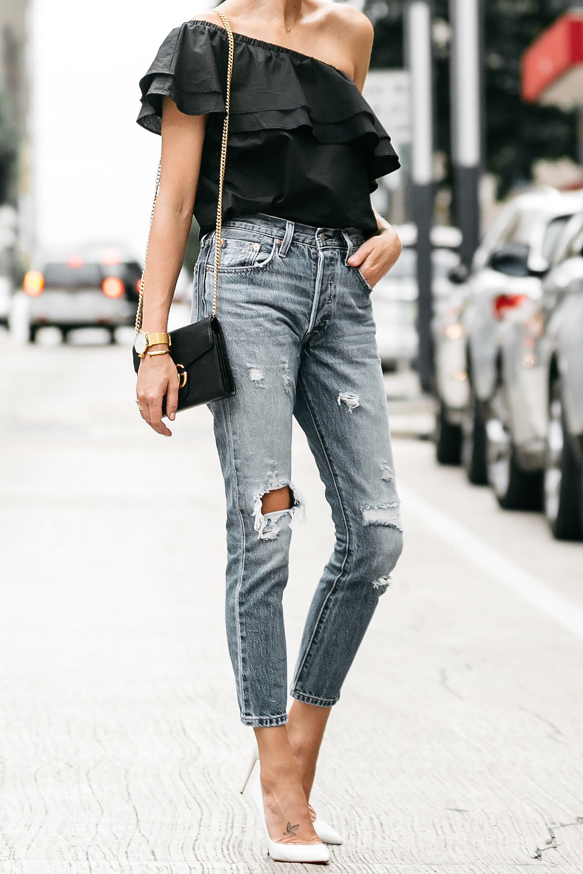 nordstrom black one shoulder ruffle top levis distressed jeans christian louboutin white pumps gucci marmont handbag street style dallas blogger fashion blogger
