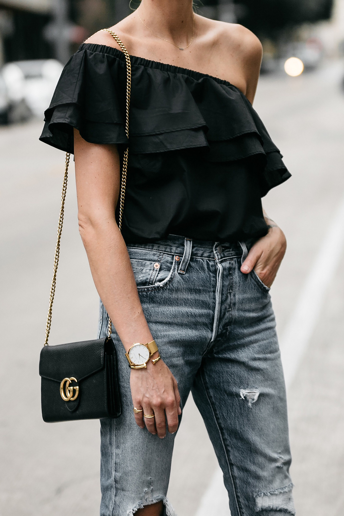 nordstrom black one shoulder ruffle top distressed jeans outfit gucci marmont handbag street style dallas blogger fashion blogger