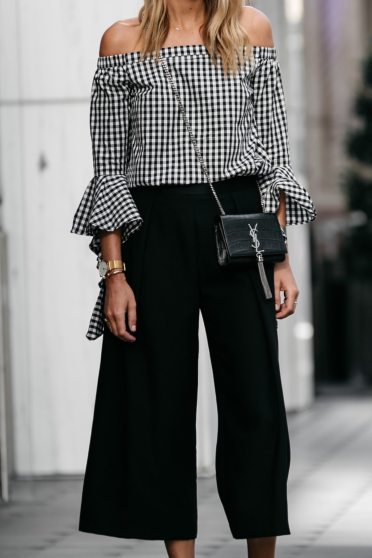 Blonde woman wearing nordstrom gingham off-the-shoulder top topshop black culottes outfit ysl crossbody street style dallas blogger fashion blogger