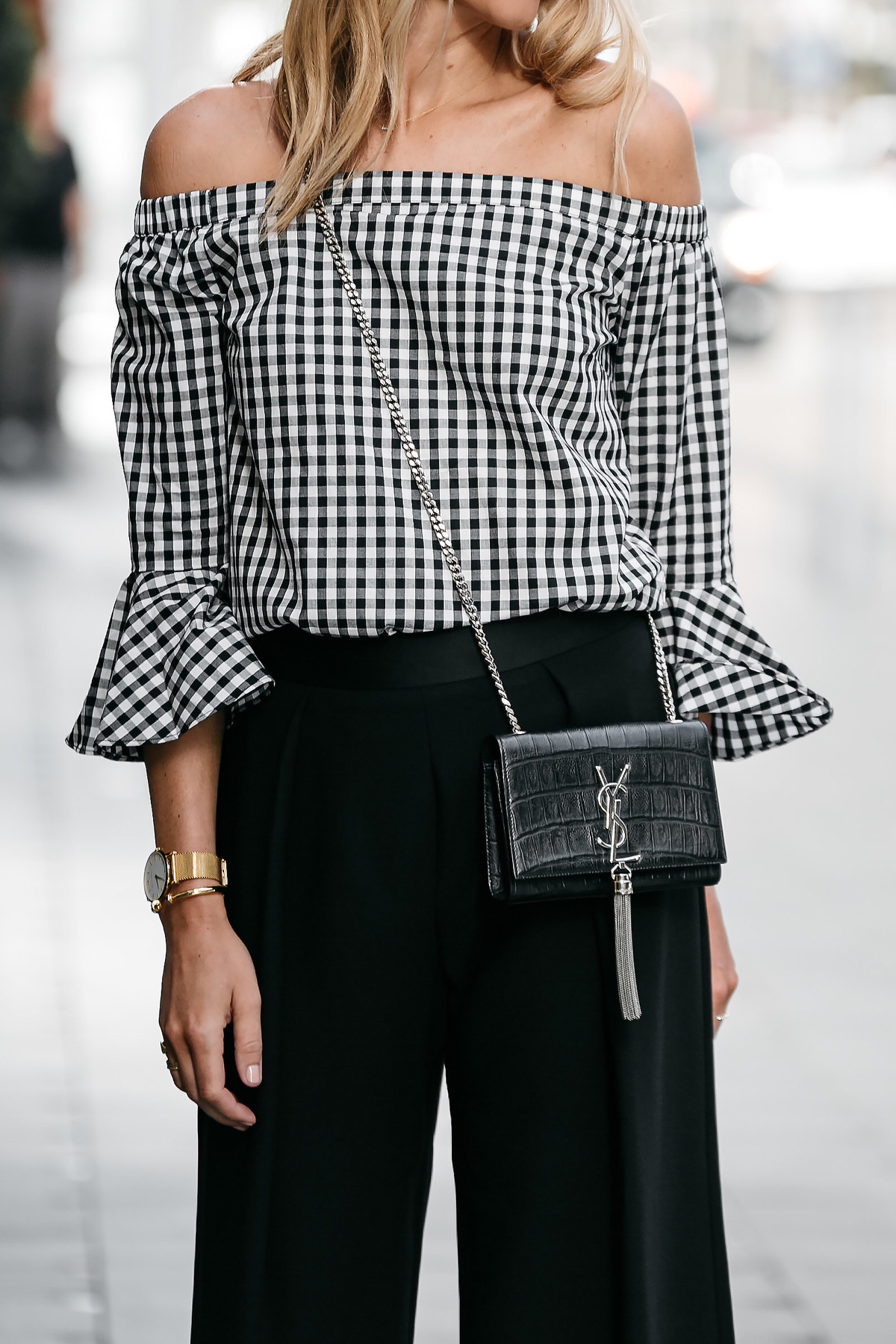 Blonde woman wearing nordstrom gingham off-the-shoulder top outfit ysl crossbody street style dallas blogger fashion blogger