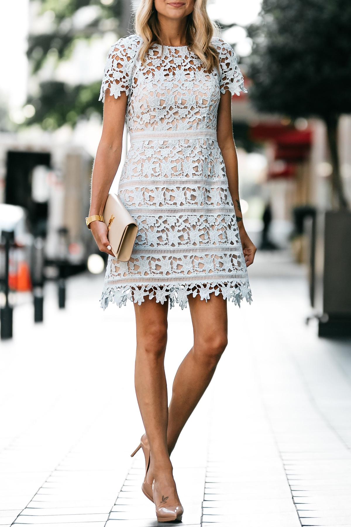 Nordstrom Short Sleeve Blue Lace Dress