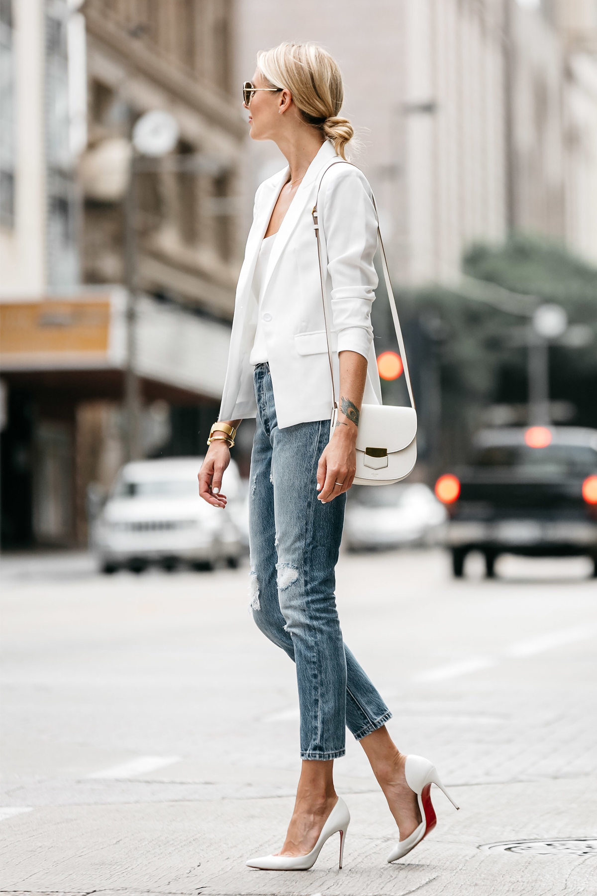 Fashion Jackson Blonde Woman Wearing White Blazer Distressed Jeans Outfit