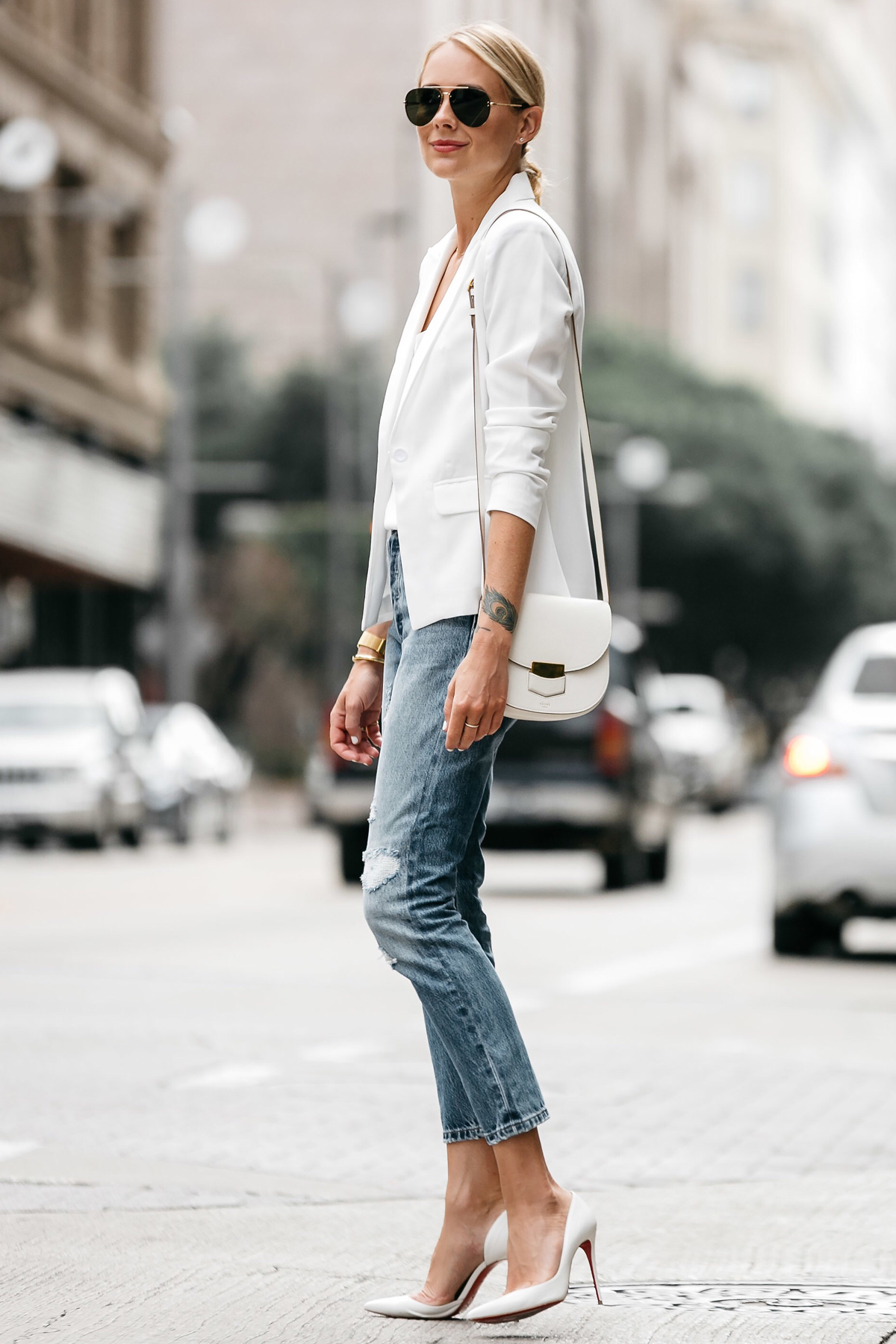 Fashion Jackson Blonde Woman Wearing White Blazer Distressed Jeans Outfit