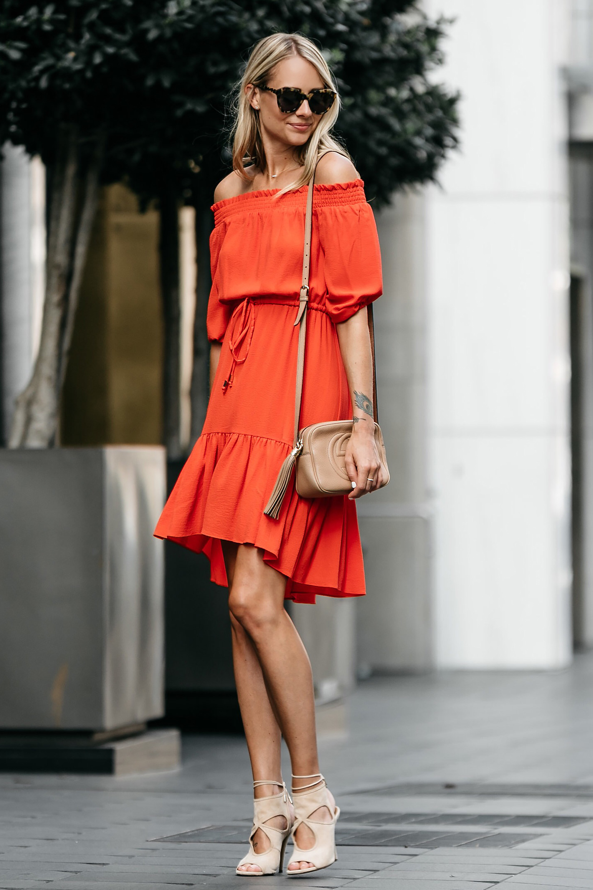 Blonde Woman Wearing Vince Camuto Red off-the-shoulder Dress