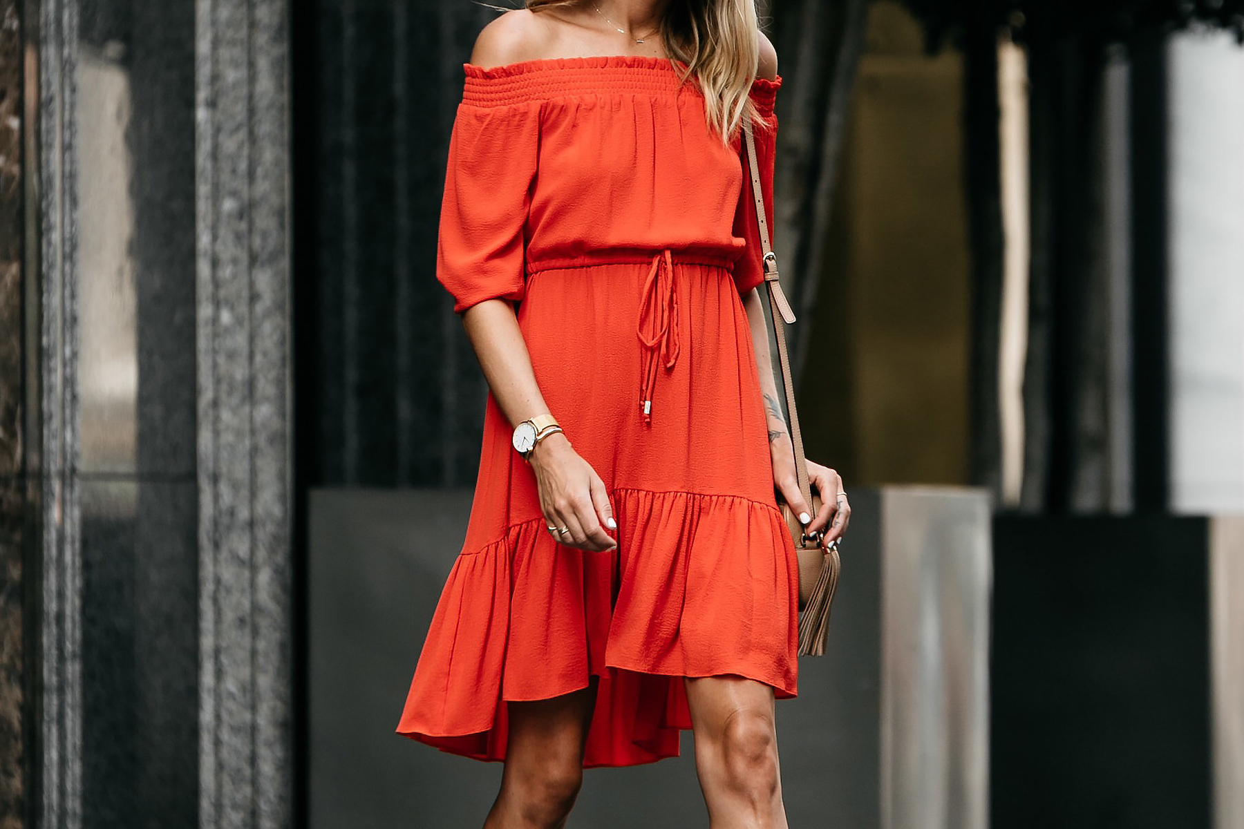 Vince Camuto Red off-the-shoulder Dress