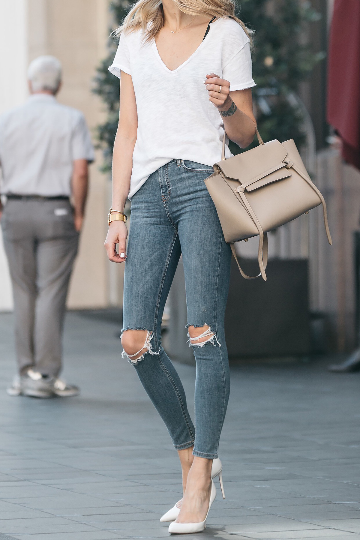 Jeans, High Heels and a White T-shirt