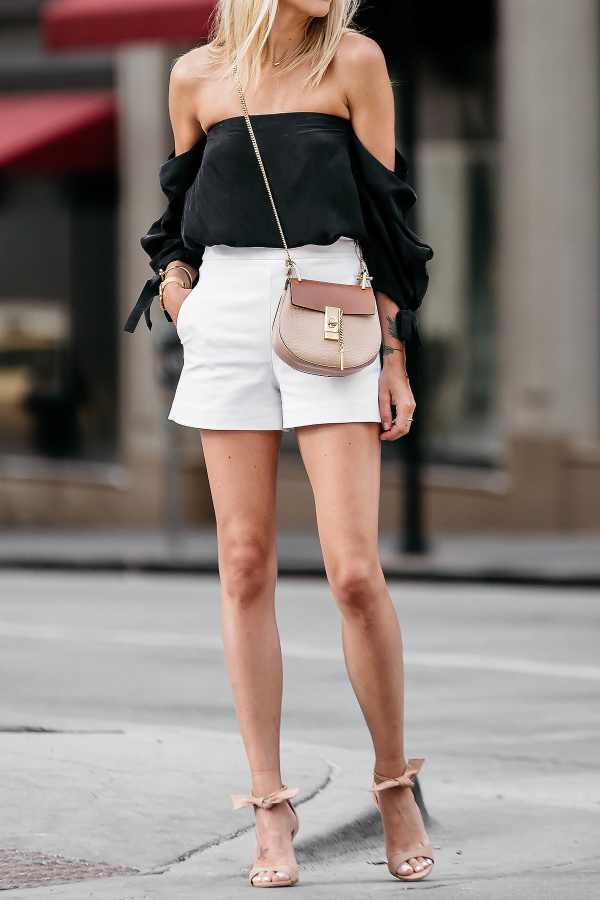 High black waisted shorts club outfit