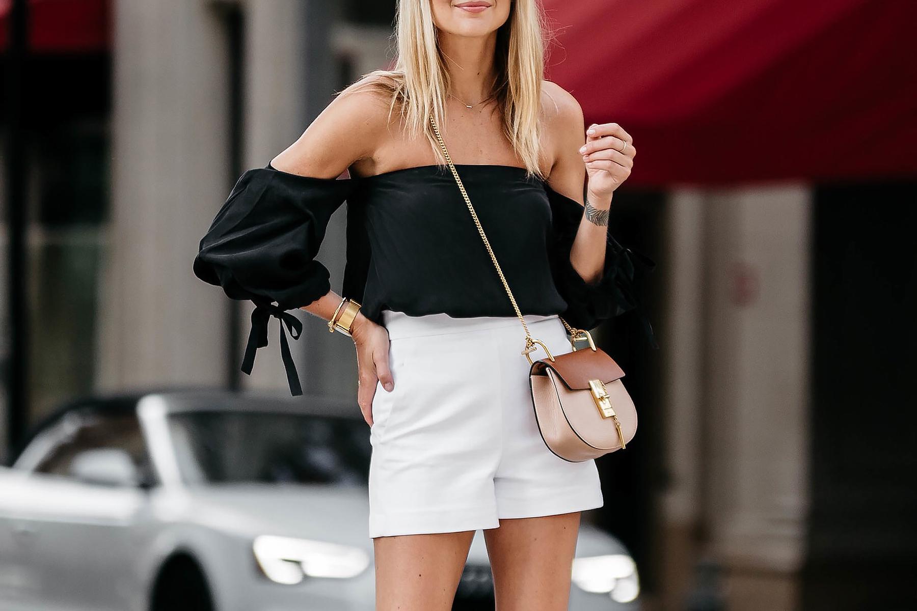 Fashion Jackson, Dallas Blogger, Fashion Blogger, Street Style, Club Monaco Black Off-the-Shoulder Top, White High Waisted Shorts, Chloe Drew Handbag, Tan Ankle Strap Bow Heels, Celine Black Sunglasses
