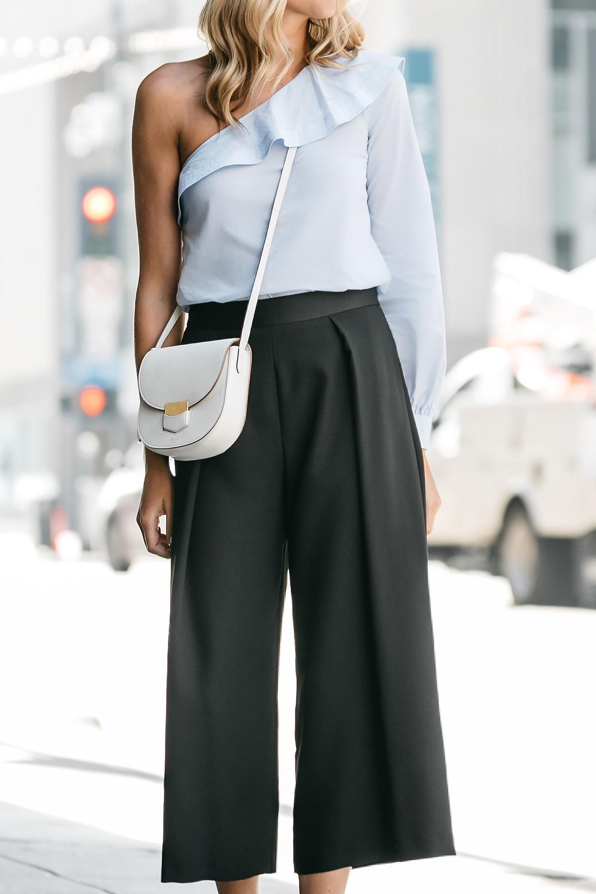 Fashion Jackson, Dallas Blogger, Fashion Blogger, Street Style, A.L.C One Shoulder Ruffle Top, Topshop Black Culottes, Steve Madden Carrson Ankle Strap Heeled Sandals, Celine White Trotteur Handbag