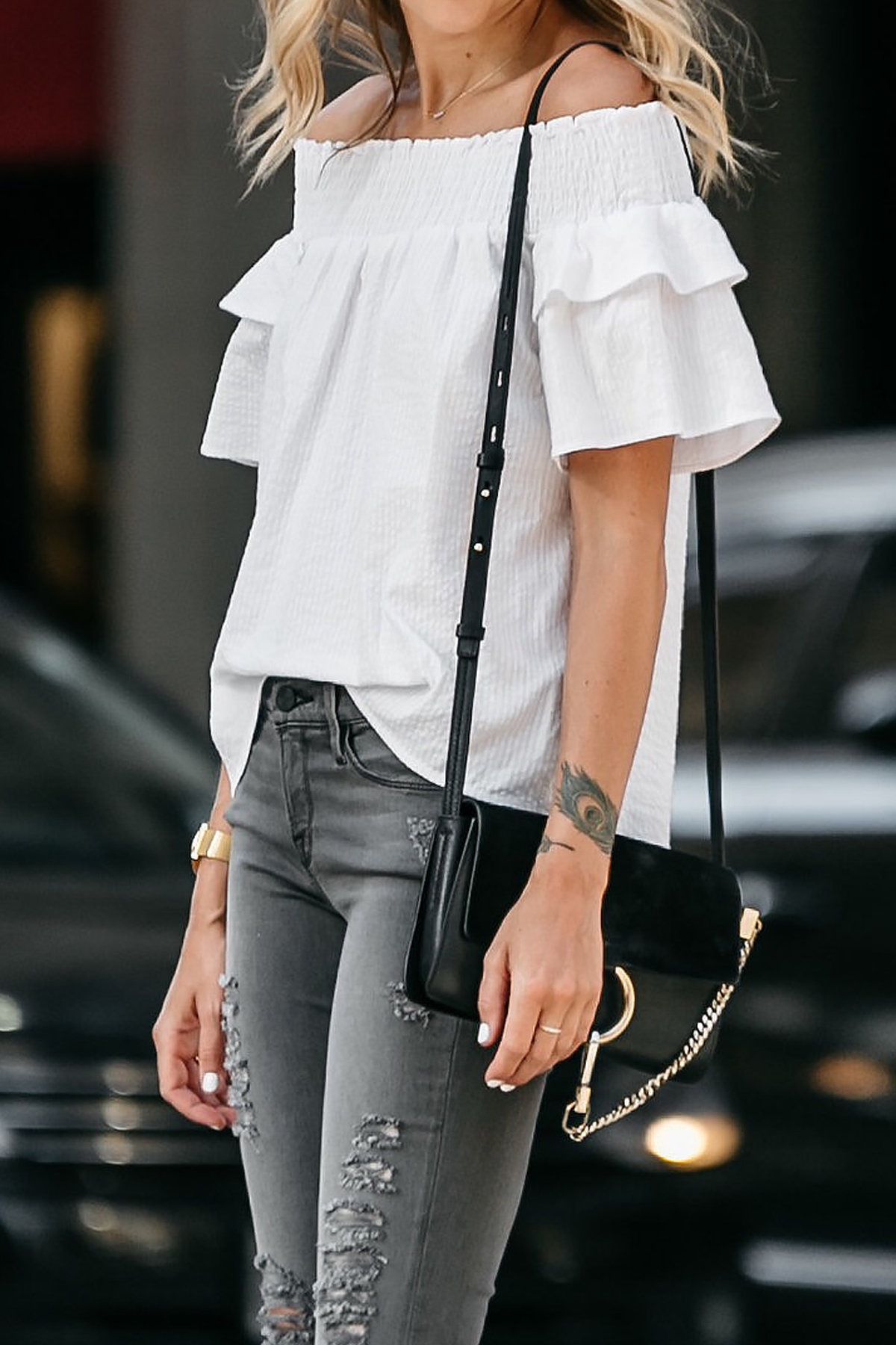 Fashion Jackson, Dallas Blogger, Fashion Blogger, Street Style, Nordstrom White Off-the-Shoulder Top, Frame Grey Ripped Skinny Jeans, Chloe Faye Black Handbag, Christian Louboutin White Pumps