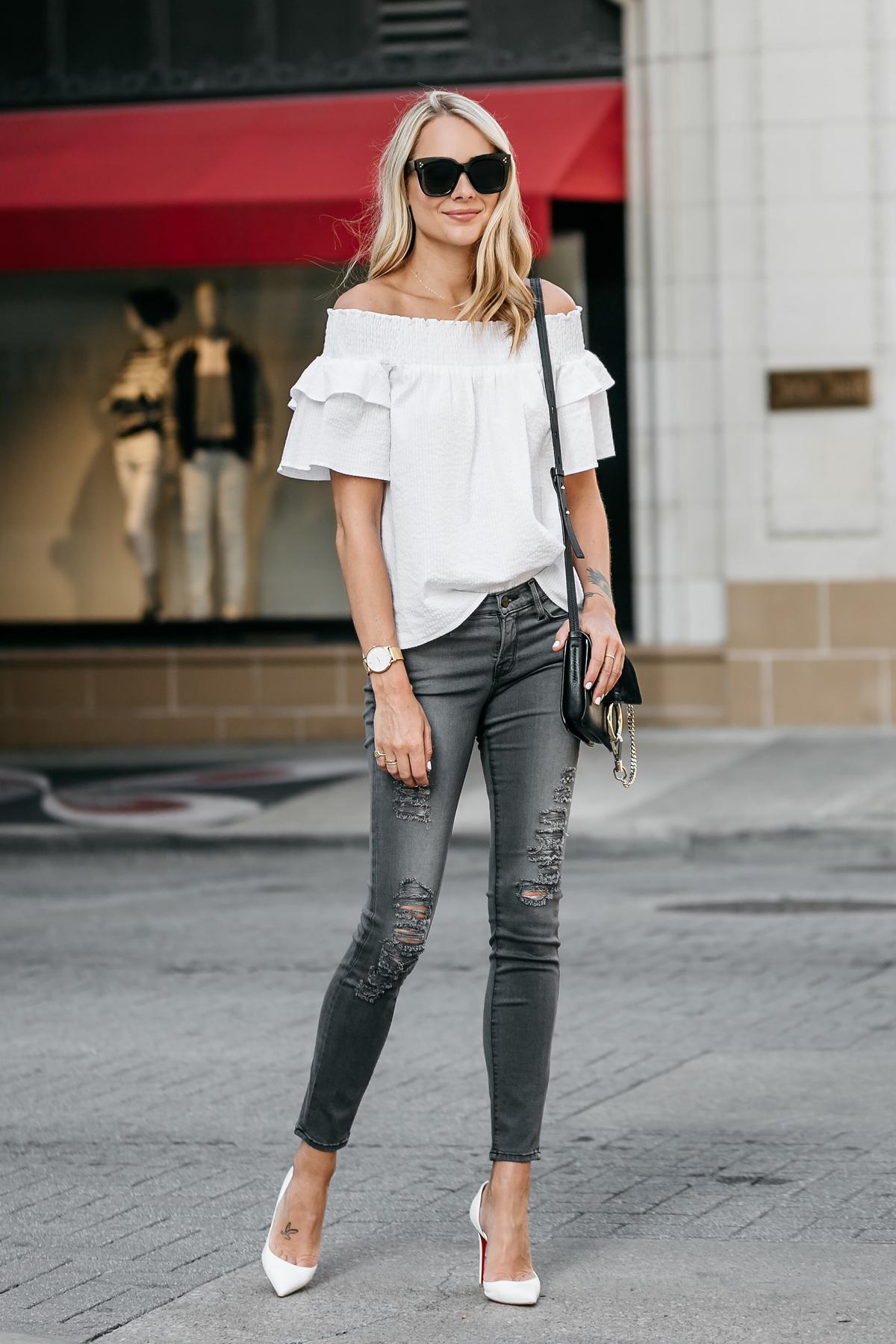 Fashion Jackson, Dallas Blogger, Fashion Blogger, Street Style, Nordstrom White Off-the-Shoulder Top, Frame Grey Ripped Skinny Jeans, Chloe Faye Black Handbag, Christian Louboutin White Pumps