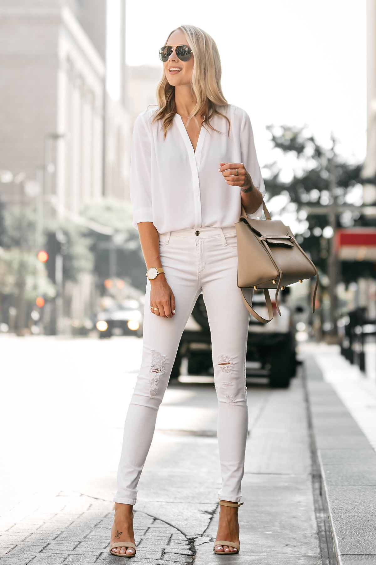 Fashion Jackson, Dallas Blogger, Fashion Blogger, Street Style, White Button-Down Blouse, White Ripped Skinny Jeans, Celine Belt Bag, Steve Madden Carrson Ankle Strap Heeled Sandals, Celine Aviator Sunglasses