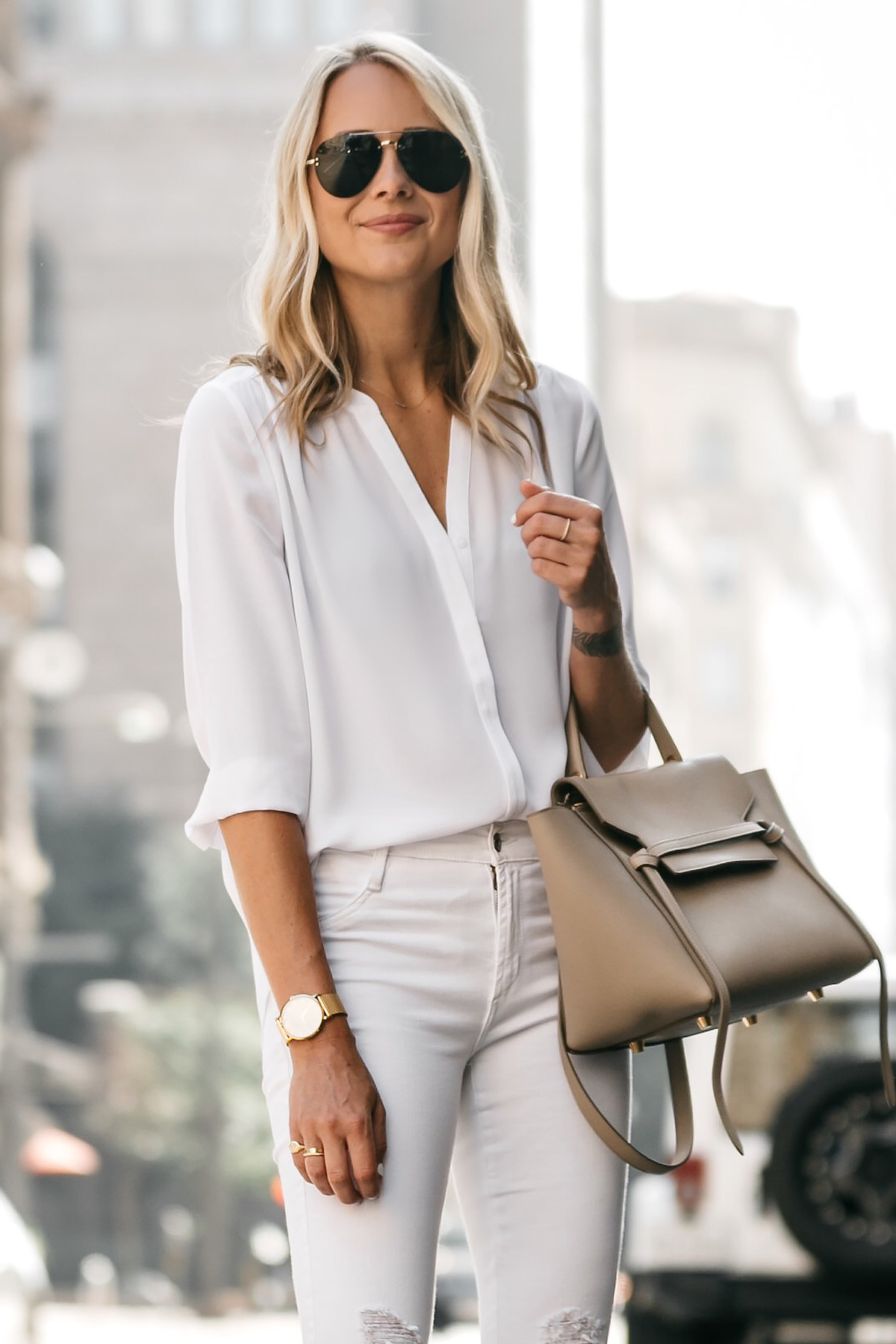 Fashion Jackson, Dallas Blogger, Fashion Blogger, Street Style, White Button-Down Blouse, White Ripped Skinny Jeans, Celine Belt Bag, Steve Madden Carrson Ankle Strap Heeled Sandals, Celine Aviator Sunglasses
