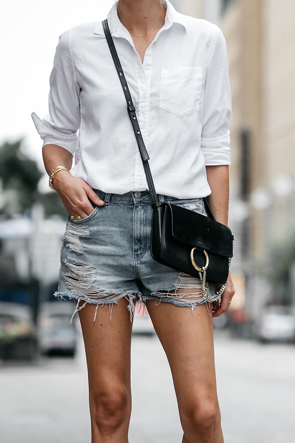 Banana Republic White Button Down Shirt Topshop Ripped Denim Cutoff Shorts Outfit Chloe Faye Handbag Street Style Dallas Blogger Fashion Blogger Fashion Jackson