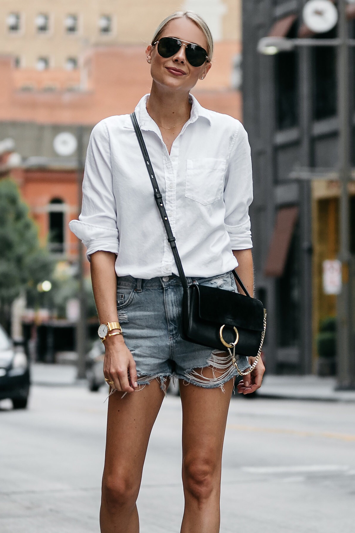 Blonde Woman Wearing Banana Republic White Button Down Shirt Topshop Ripped Denim Cutoff Shorts Outfit Chloe Faye Handbag Street Style Dallas Blogger Fashion Blogger Fashion Jackson