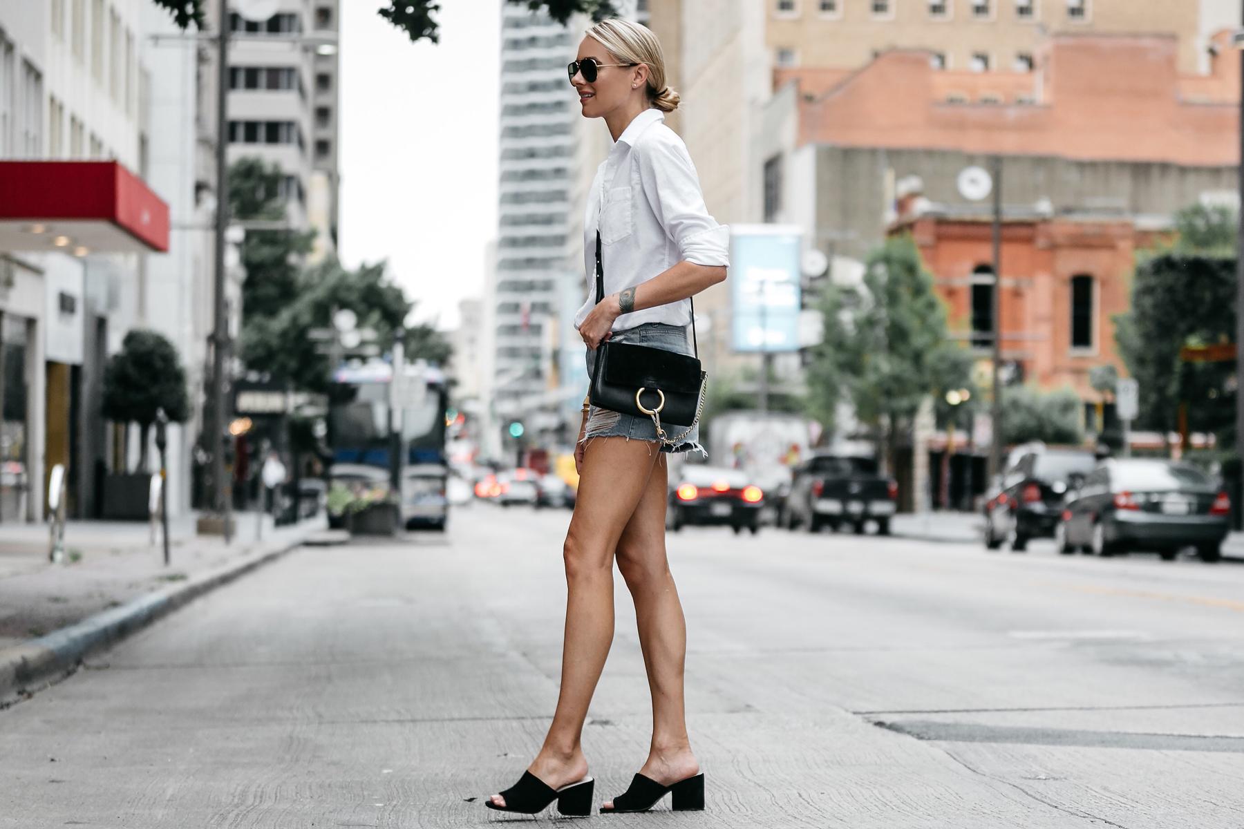 Blonde Woman Wearing Banana Republic White Button Down Shirt Topshop Ripped Denim Cutoff Shorts Outfit Steve Madden Black Mules Chloe Faye Handbag Street Style Dallas Blogger Fashion Blogger Fashion Jackson