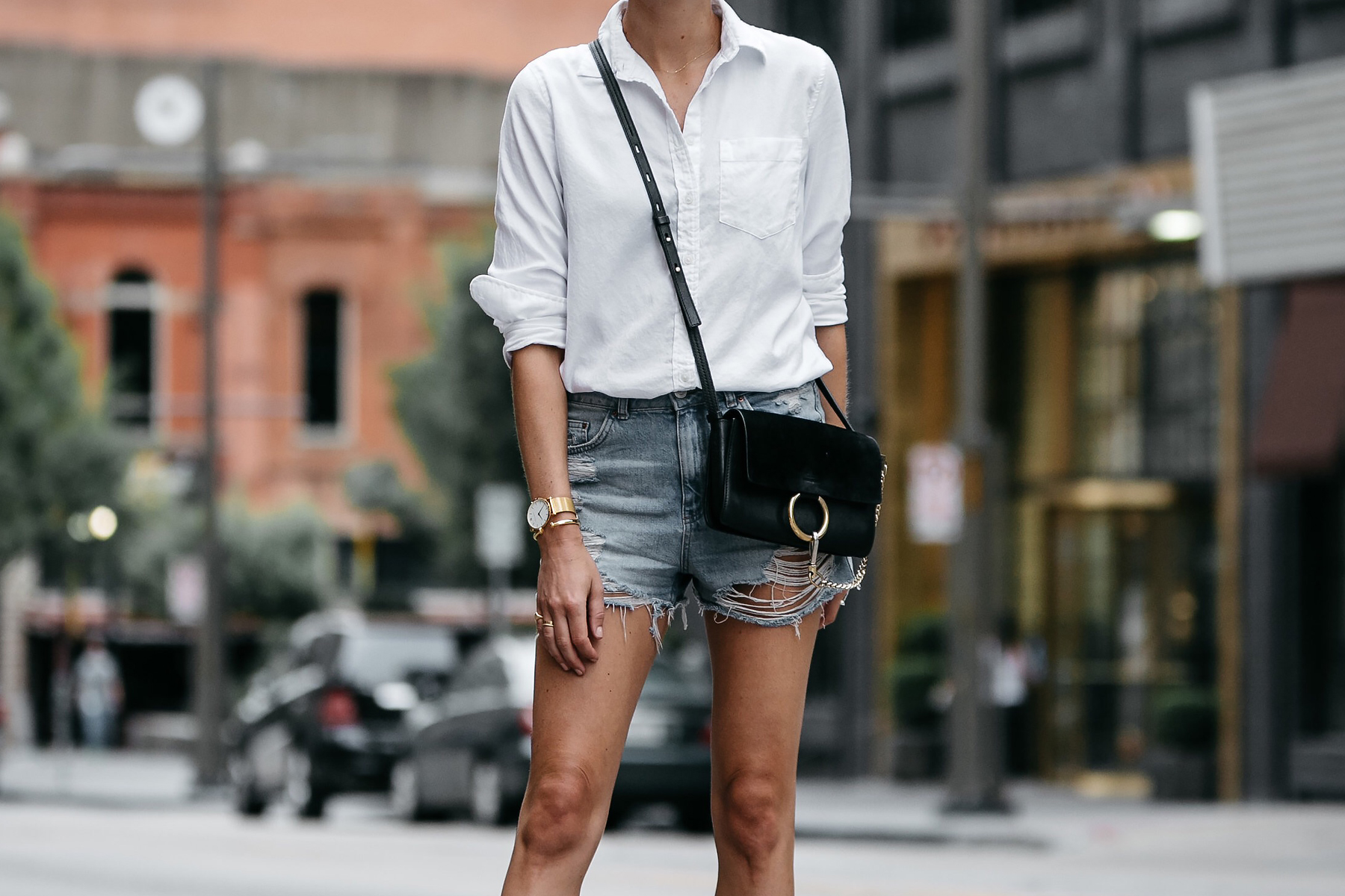 Banana Republic White Button Down Shirt Topshop Ripped Denim Cutoff Shorts Outfit Chloe Faye Handbag Street Style Dallas Blogger Fashion Blogger Fashion Jackson