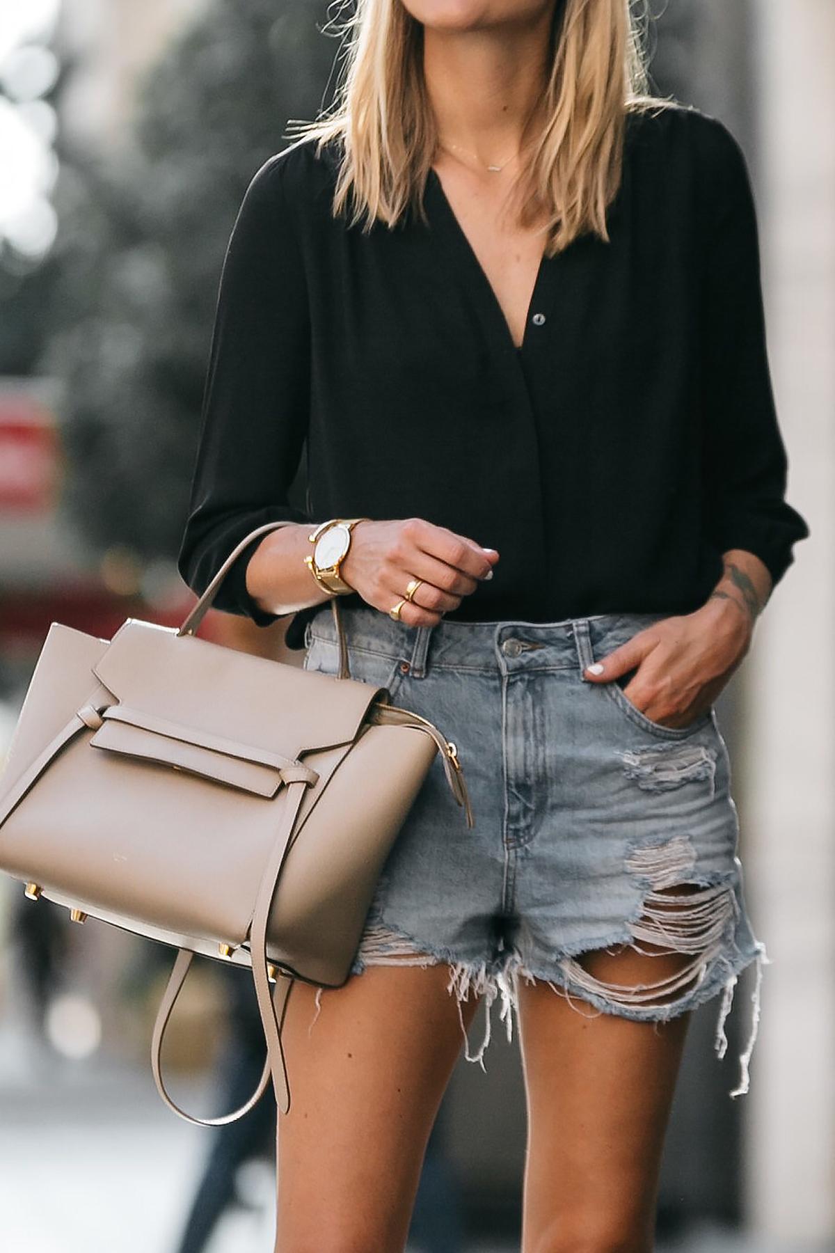 Blonde Woman Wearing Nodstrom Black Long Sleeve Button Down Blouse Topshop Denim Ripped Mom Shorts Outfit Celine Belt Bag Fashion Jackson Dallas Blogger Fashion Blogger Street Style