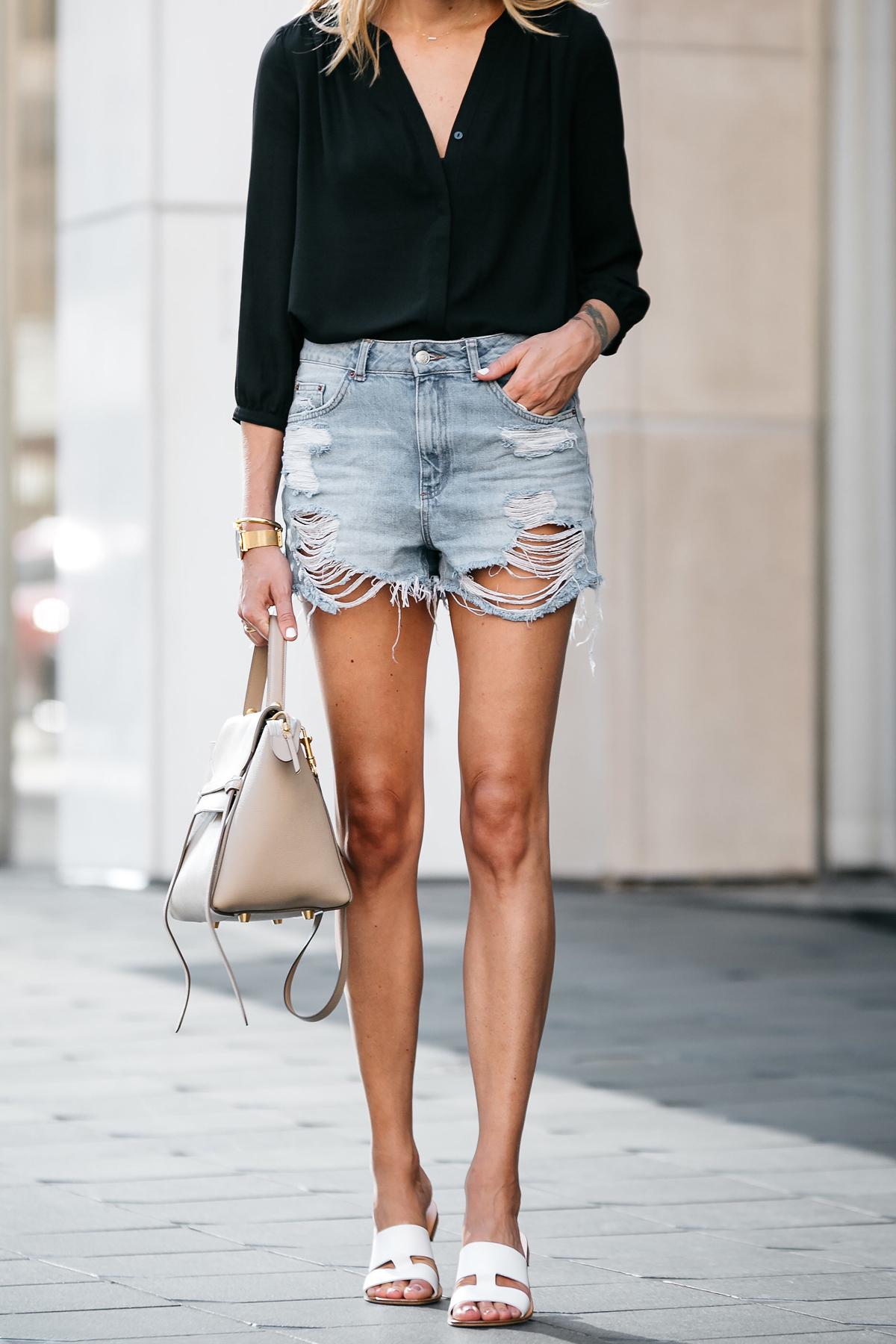 Nodstrom Black Long Sleeve Button Down Blouse Topshop Denim Ripped Mom Shorts Outfit Celine Belt Bag Everlane White Bridge Sandals Fashion Jackson Dallas Blogger Fashion Blogger Street Style