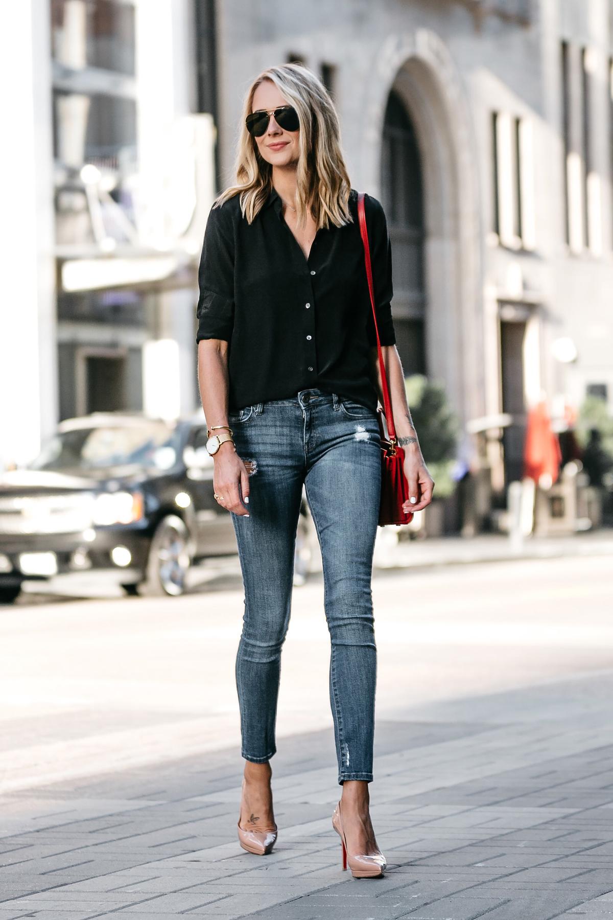Blonde Wearing Everlane Black Button Up Shirt Denim Skinny Jeans Outfit Christian Louboutin Nude Pumps Red Handbag Fashion Jackson Dallas Blogger Fashion Blogger Street Style