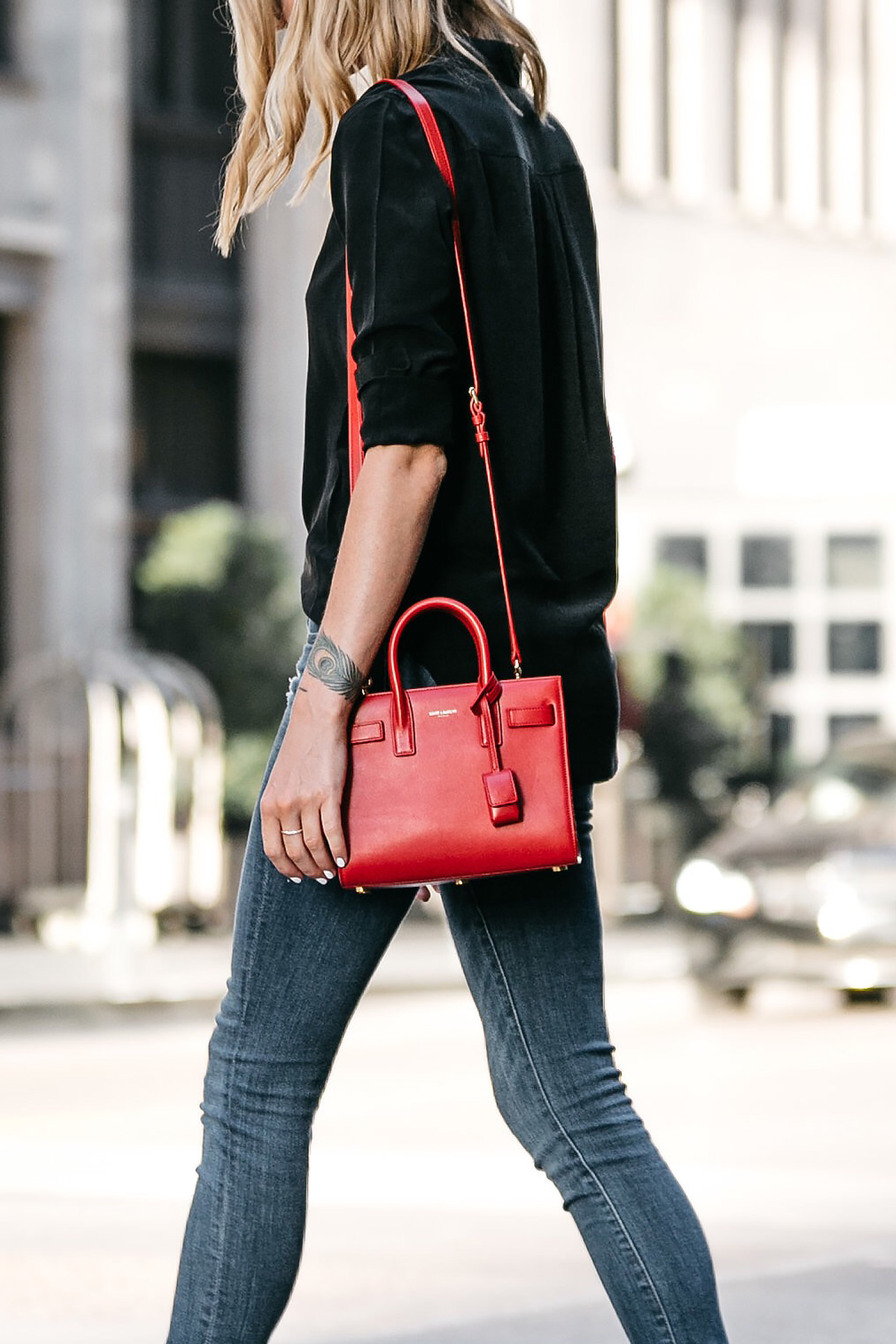 Saint Laurent Sac de Jour Red Handbag Black Button Up Shirt Denim Skinny Jeans Fashion Jackson Dallas Blogger Fashion Blogger Street Style