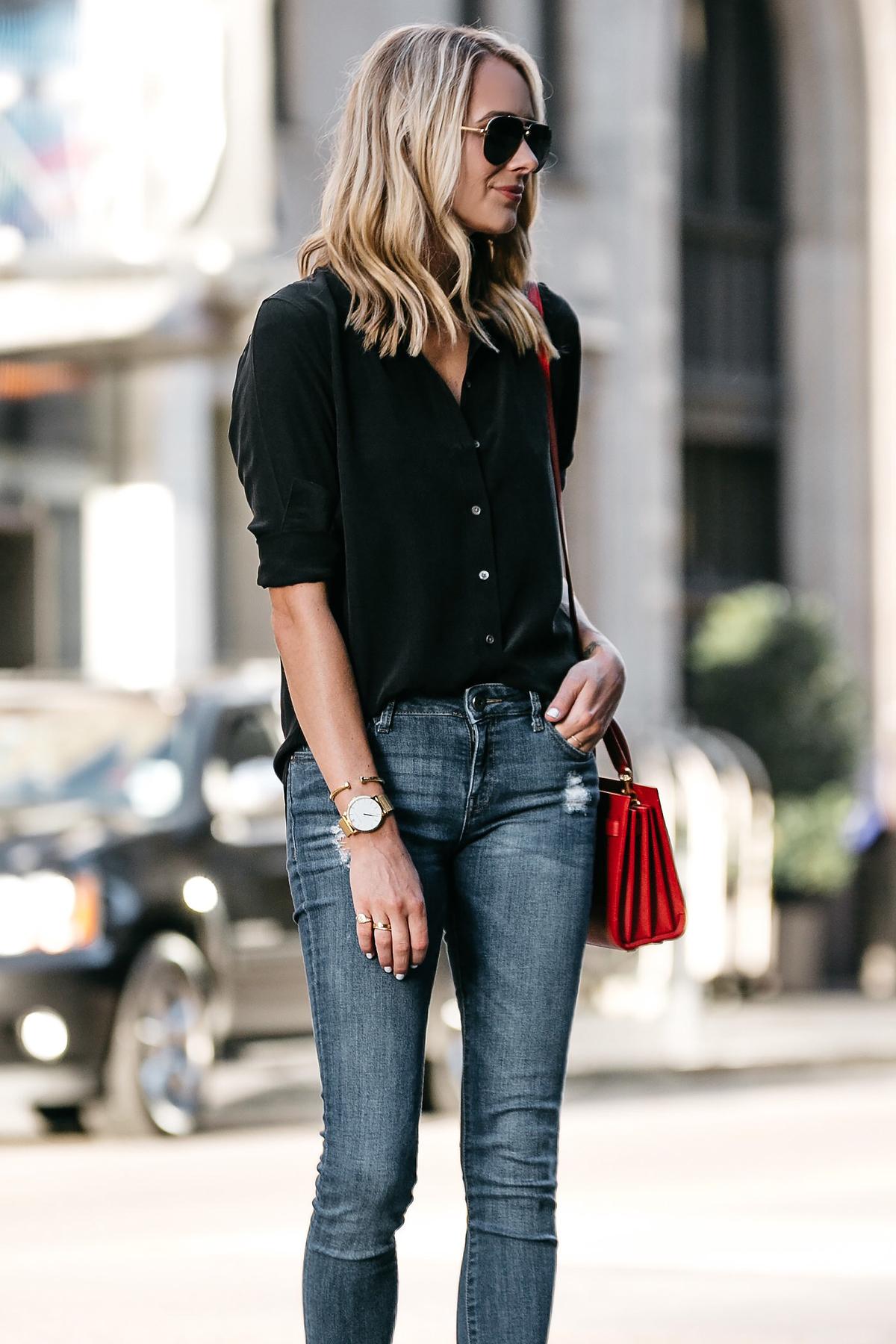 Blonde Wearing Everlane Black Button Up Shirt Denim Skinny Jeans Fashion Jackson Dallas Blogger Fashion Blogger Street Style