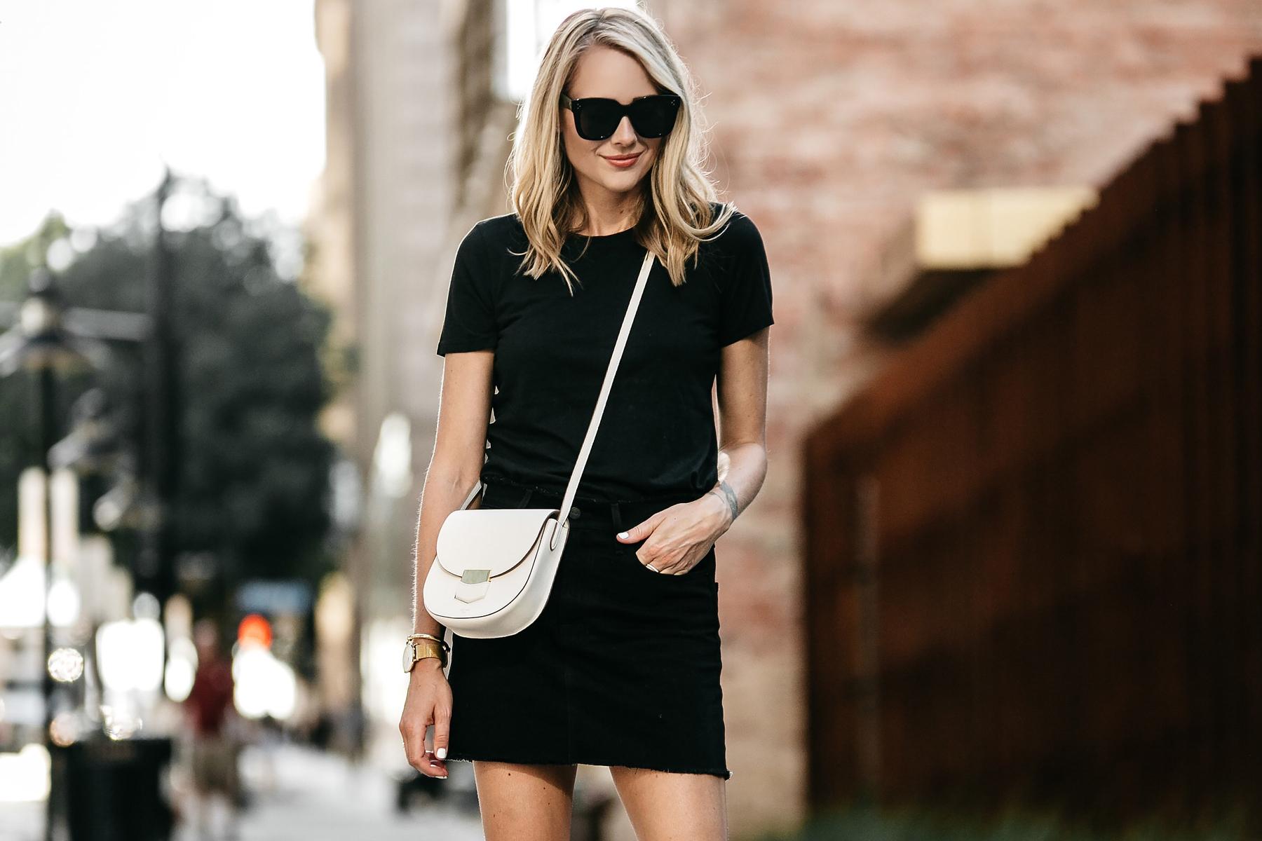 f22a44f45b Blonde Woman Wearing Everlane Black Fitted Tshirt Frame Black Denim Skirt  Outfit Celine White Trotteur Handbag