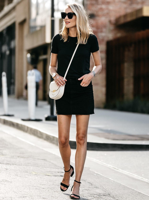Blonde Woman Wearing Everlane Black Fitted Tshirt Frame Black Denim Skirt Outfit Celine White Trotteur Handbag Black Ankle Strap Sandals Fashion Jackson Dallas Blogger Fashion Blogger Street Style