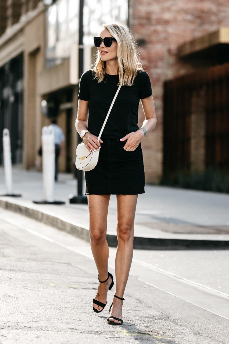 tshirt skirt denim jackson outfit outfits wear dress strap sandals everlane shirt wearing woman blonde ankle chic fashionjackson way summer