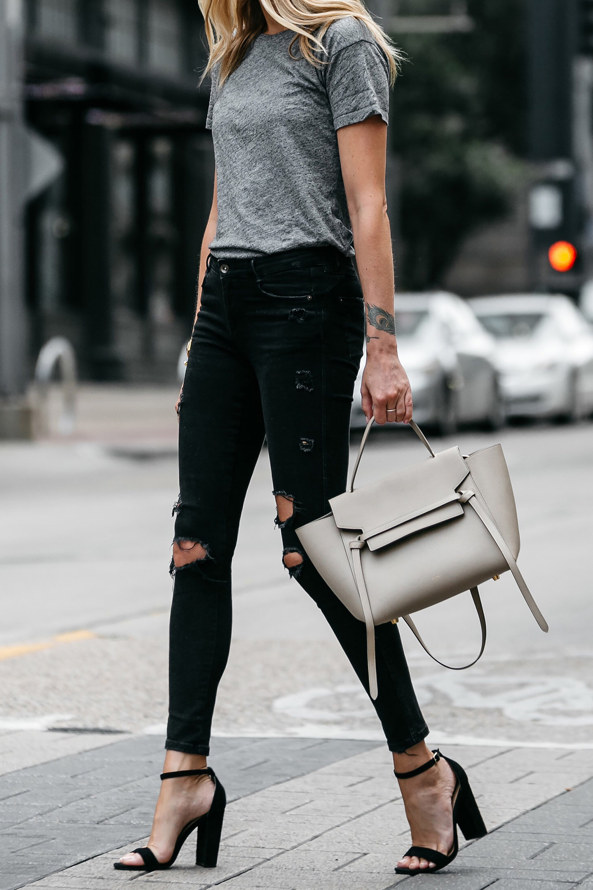 Madewell grey tshirt zara black ripped skinny jeans outfit steve madden black ankle strap heels celine belt bag street style dallas blogger fashion blogger